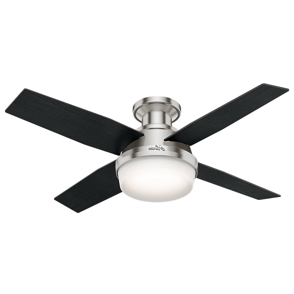 "Beltran 5 Blade Ceiling Fans Within Current 44"" Dempsey Low Profile 4 Blade Ceiling Fan With Remote Light Kit Included (View 8 of 20)"