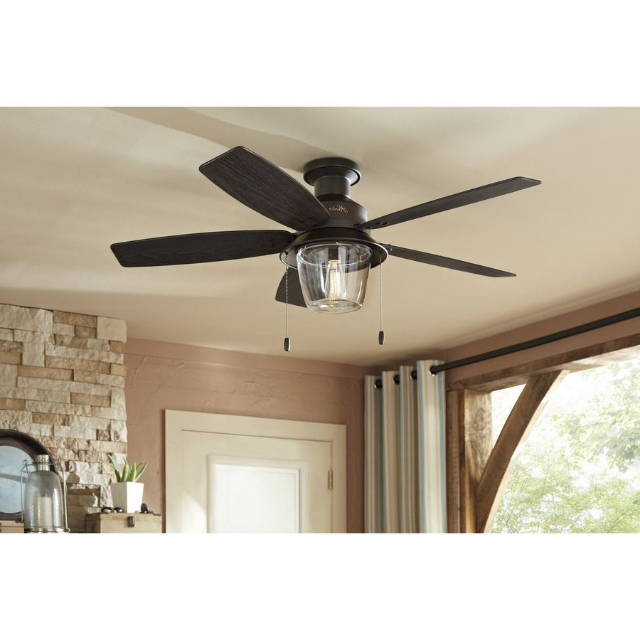 Bennett 5 Blade Led Ceiling Fans With Remote For Current Shop Hunter Allegheny 52 In New Bronze Outdoor Flush Mount (View 8 of 20)