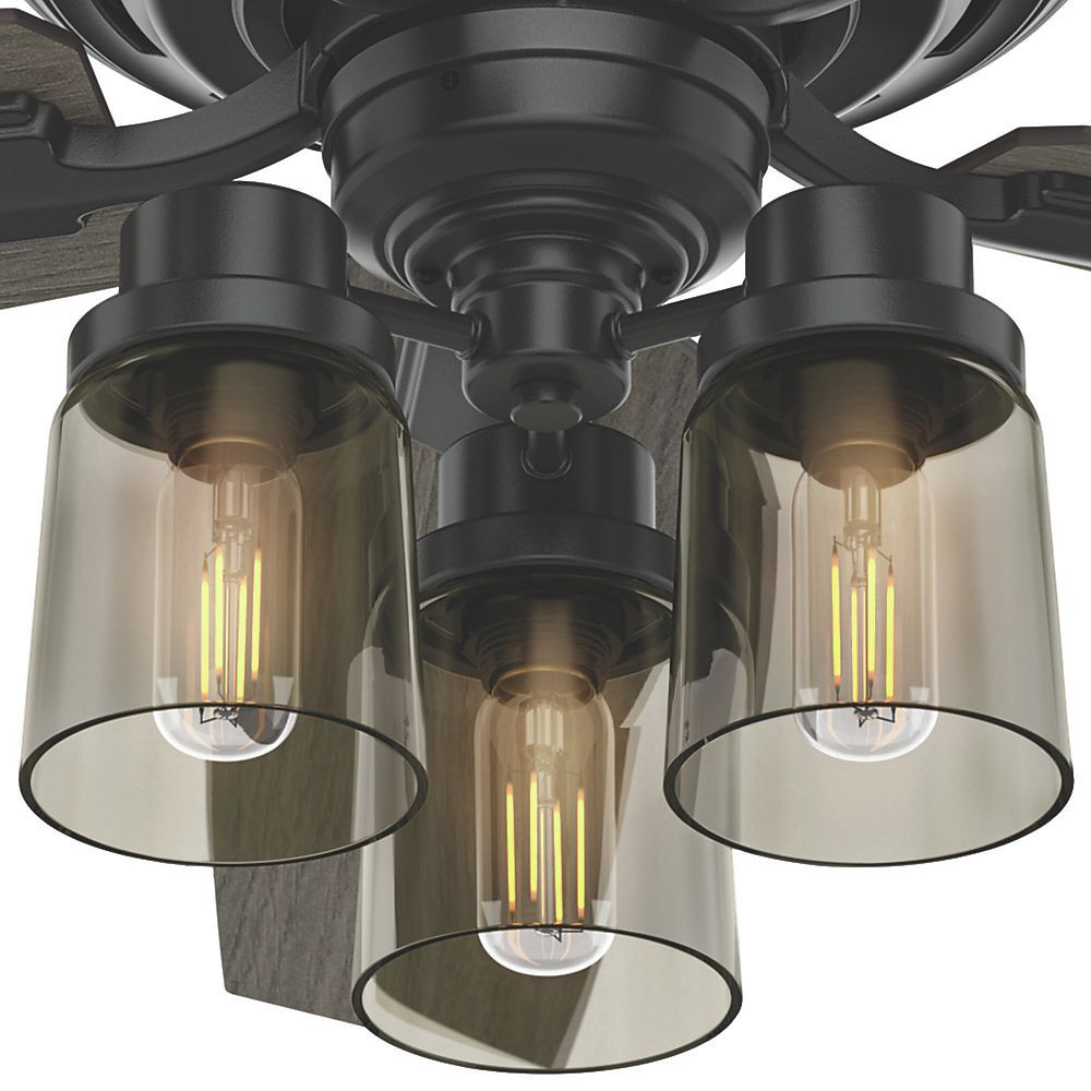 """Bennett 5 Blade Led Ceiling Fans With Remote With Newest 52"""" Hunter Bennett With 3 Light Brushed Nickel Ceiling Fan With Led Light  Kit And Remote Control (View 4 of 20)"""