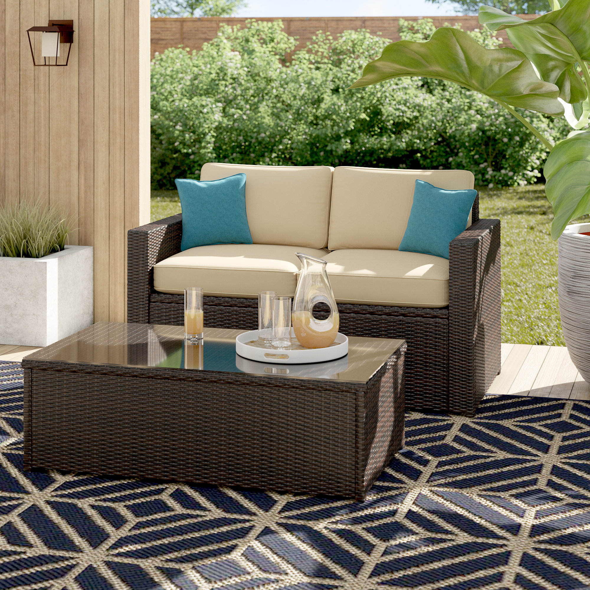 Best And Newest Belton Patio Sofas With Cushions Intended For Belton 2 Piece Rattan Sofa Seating Group With Cushions (View 5 of 25)