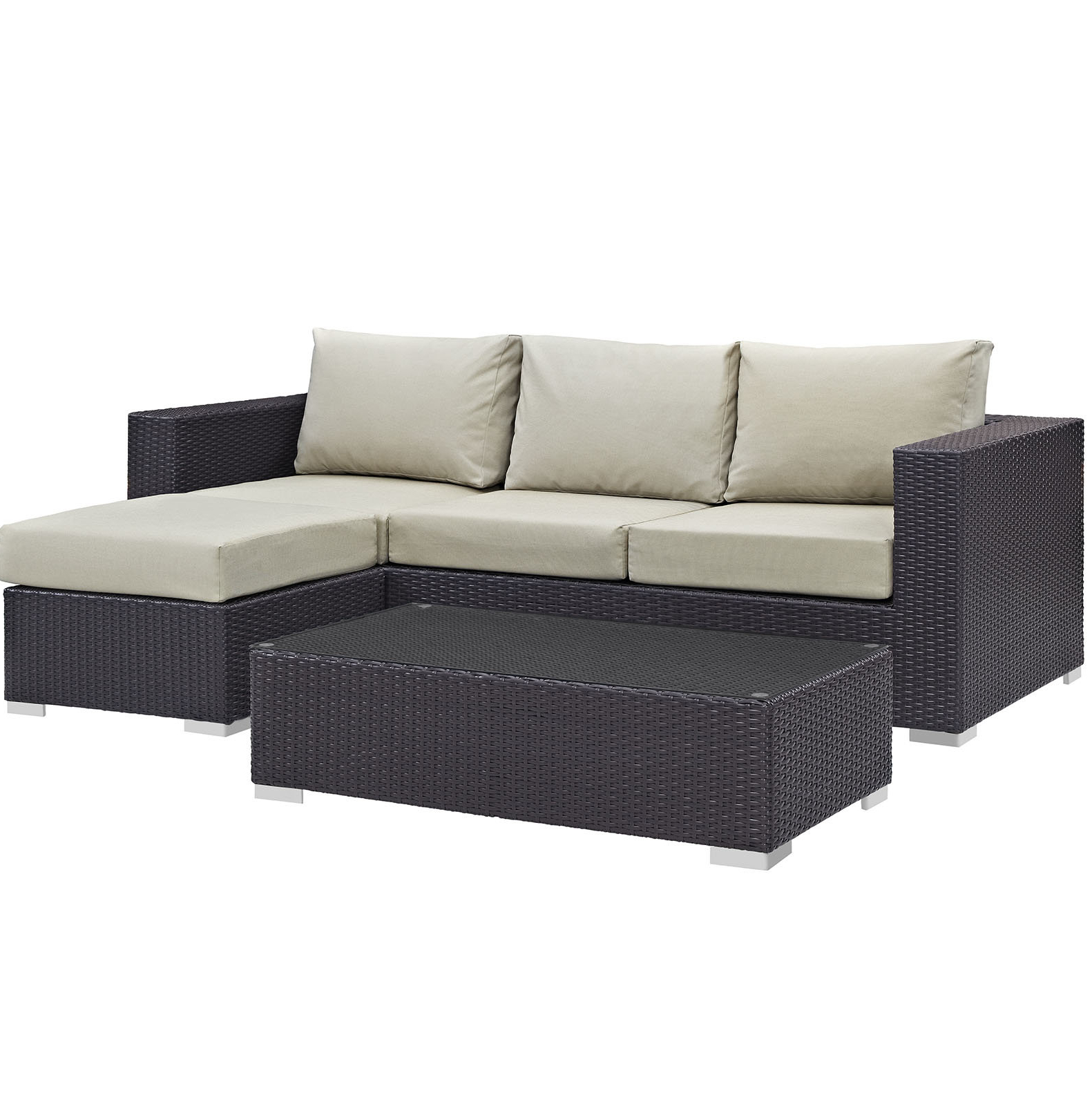 Best And Newest Brentwood Patio Sofas With Cushions In Brentwood 3 Piece Rattan Sectional Seating Group With Cushion (View 3 of 18)