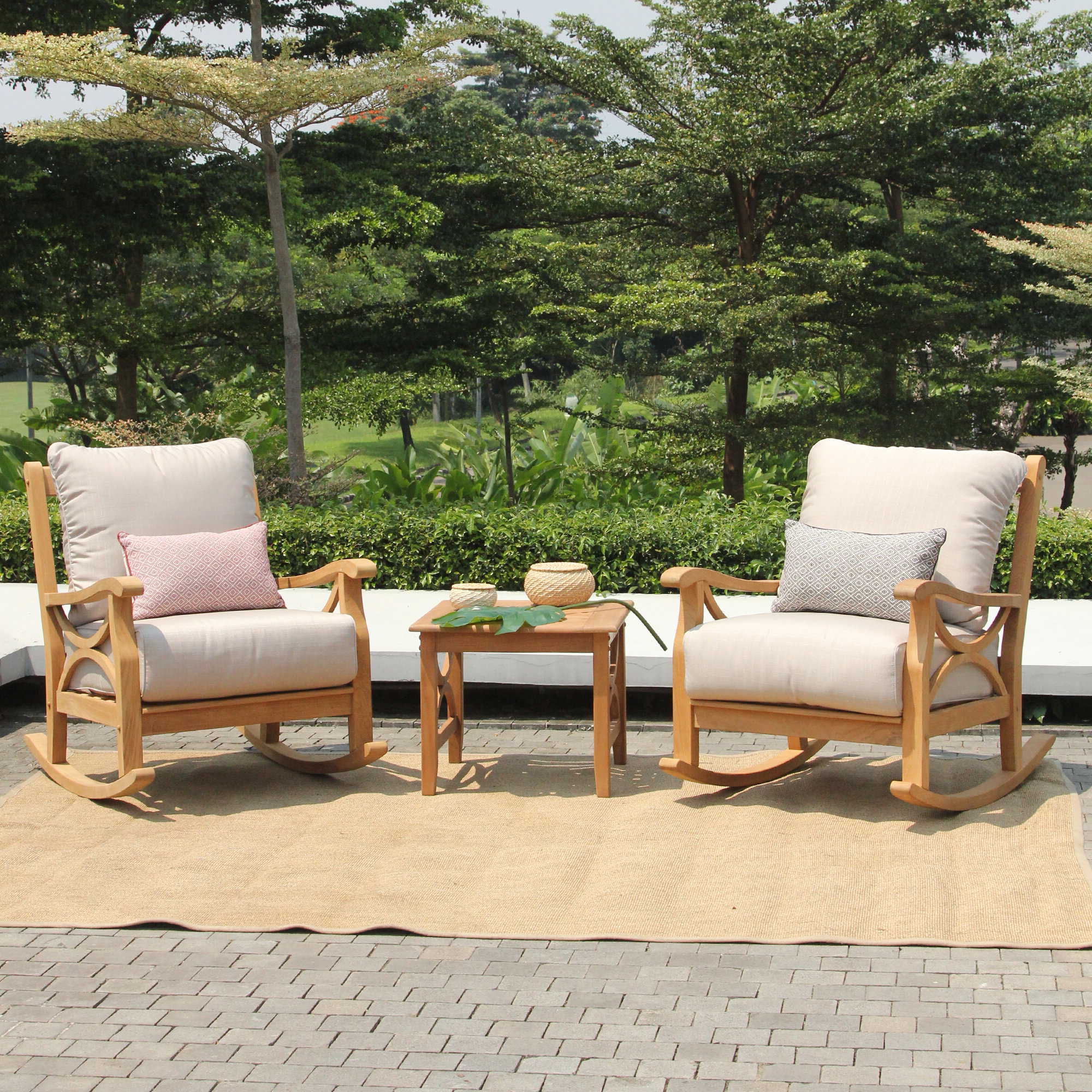 Best And Newest Brunswick 3 Piece Teak Seating Group With Cushions With Brunswick Teak Loveseats With Cushions (View 2 of 20)
