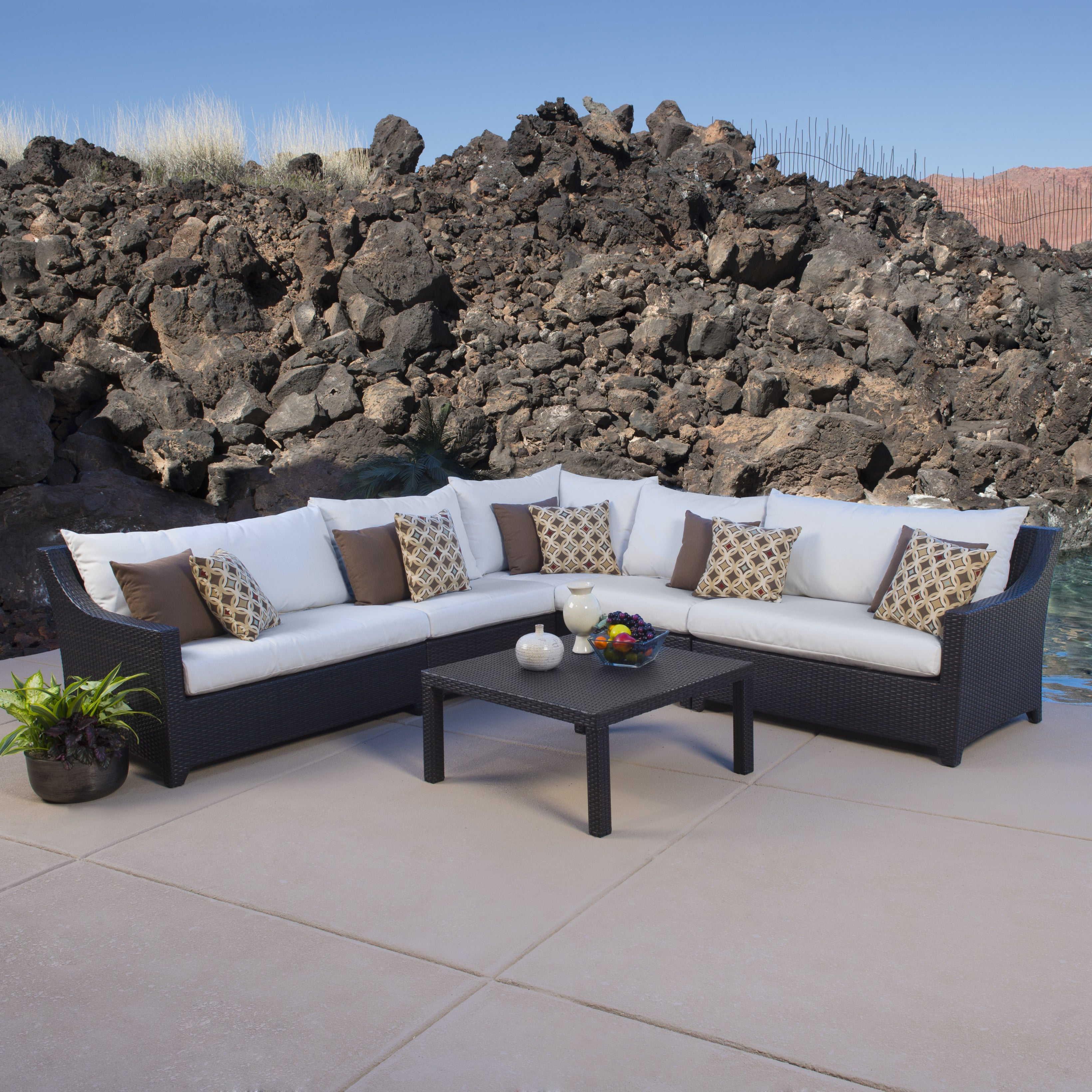 Best And Newest Deco 6 Piece Corner Sectional Set With Moroccan Cream Cushionsrst Brands Within Tess Corner Living Patio Sectionals With Cushions (View 2 of 20)