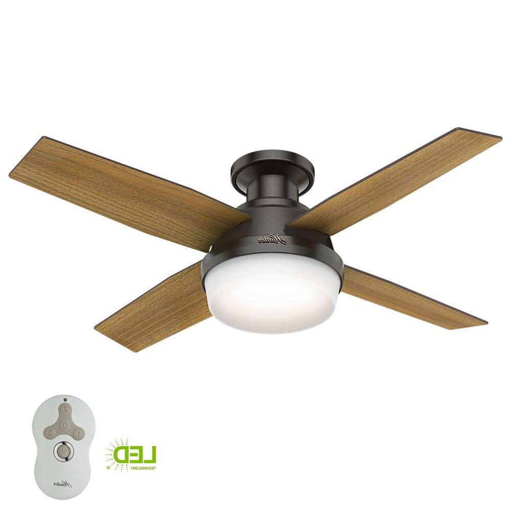 Best And Newest Dempsey Low Profile 4 Blade Ceiling Fans With Remote With Hunter Dempsey 44 In (View 2 of 20)