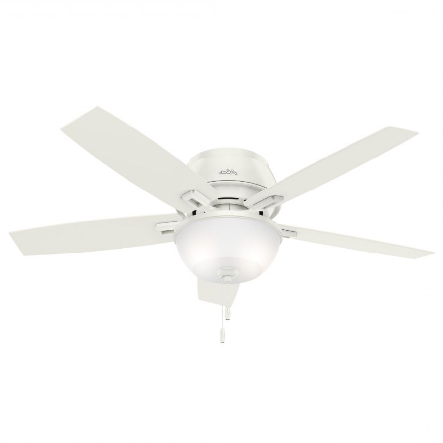 Best And Newest Donegan 5 Blade Ceiling Fans Intended For Hunter 53343 Donegan 52 Inch 2 Led Light Ceiling Fan In Fresh White With 5  Fresh White Blade And Clear Frosted Glass (View 3 of 20)