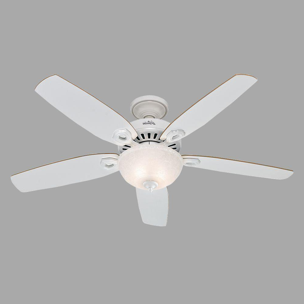 Best And Newest Hunter Builder Deluxe 52 In. Indoor White Ceiling Fan With Light Kit Within Builder Elite 5 Blade Ceiling Fans (Gallery 6 of 20)