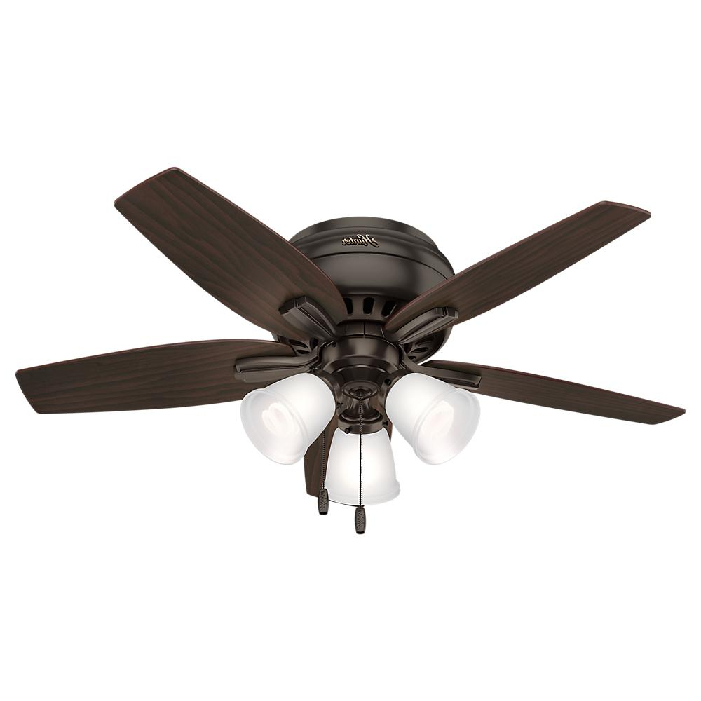 Best And Newest Newsome Low Profile 5 Blade Ceiling Fans With Regard To Hunter Newsome 42 In. Indoor Low Profile Premier Bronze Ceiling Fan With 3 Light Kit (Gallery 1 of 20)