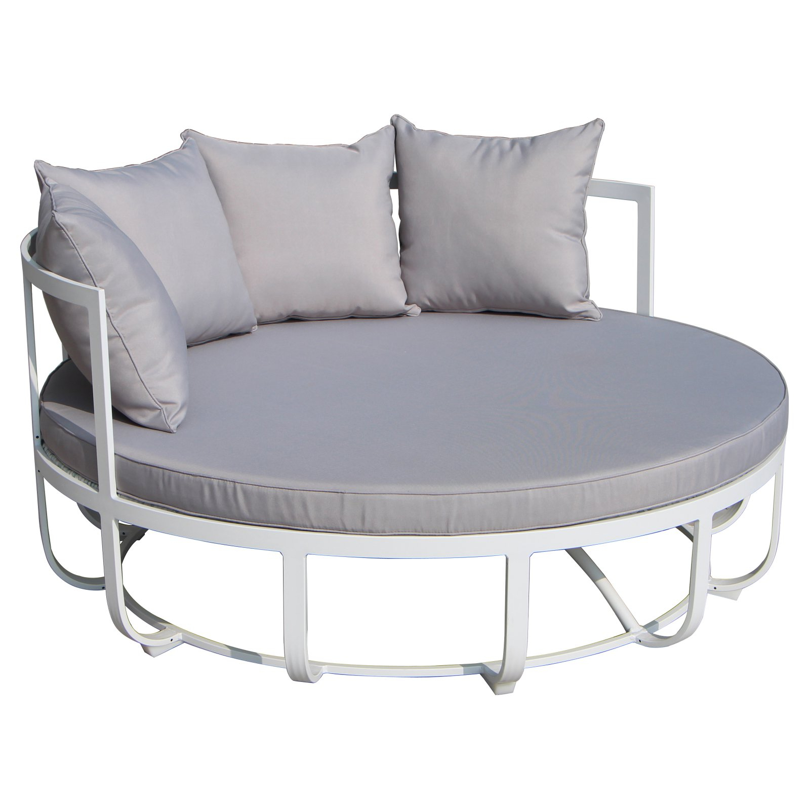 Best And Newest Olu Bamboo Large Round Patio Daybeds With Cushions With Regard To Pangea Outdoor Naples Outdoor Daybed Taupe (View 12 of 20)