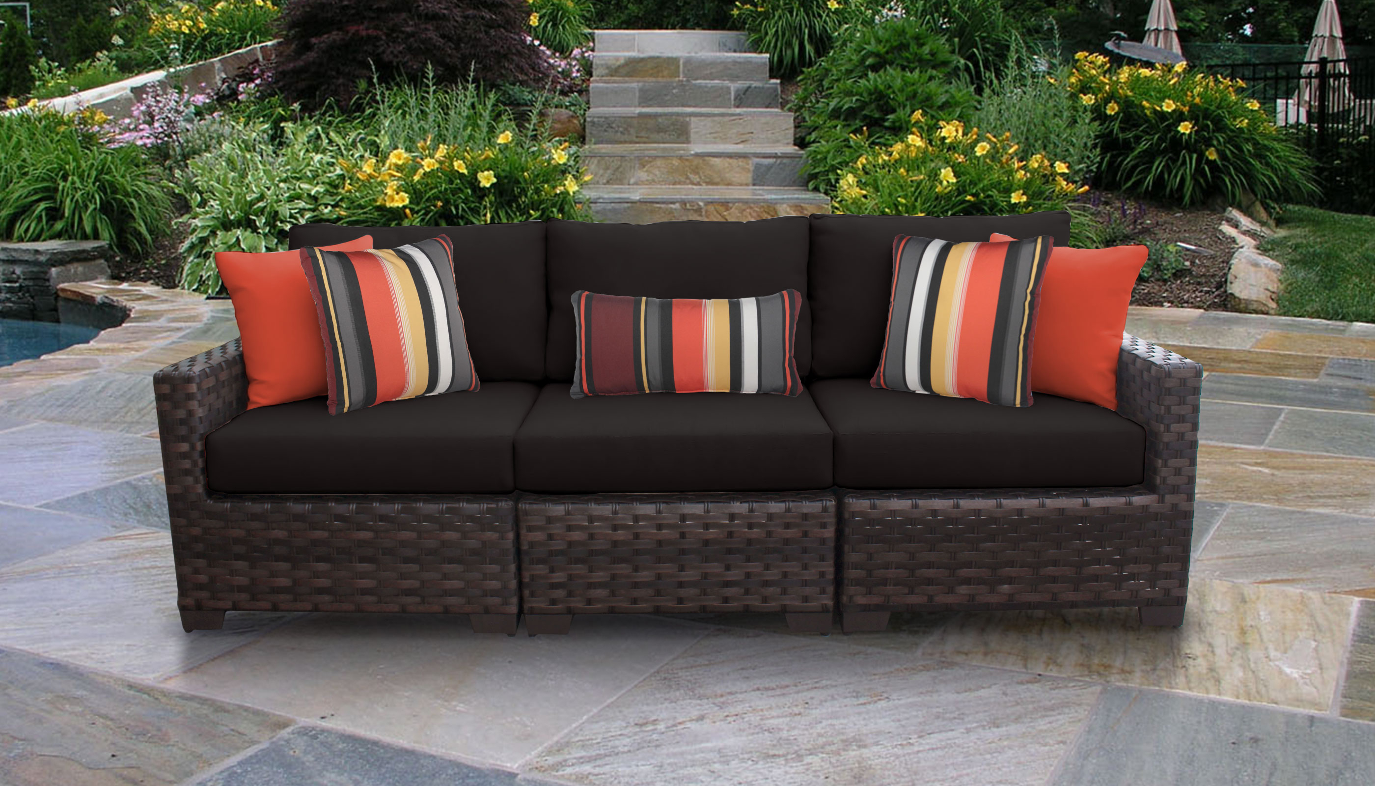 Best And Newest Oreland Patio Sofas With Cushions Regarding River 3 Piece Outdoor Wicker Patio Furniture Set 03C (View 2 of 20)