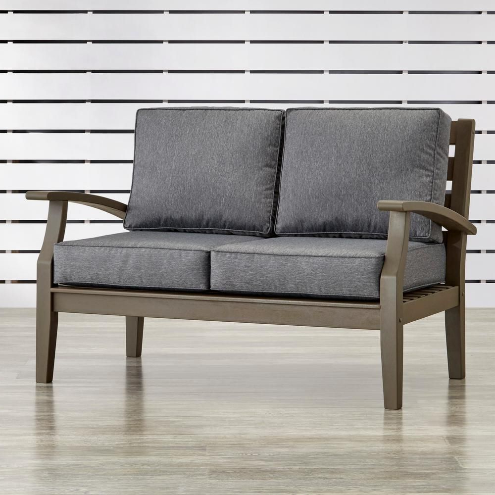 Best And Newest Pantano Loveseats With Cushions With Homesullivan Verdon Gorge Gray Oiled Wood Outdoor Loveseat (Gallery 8 of 20)
