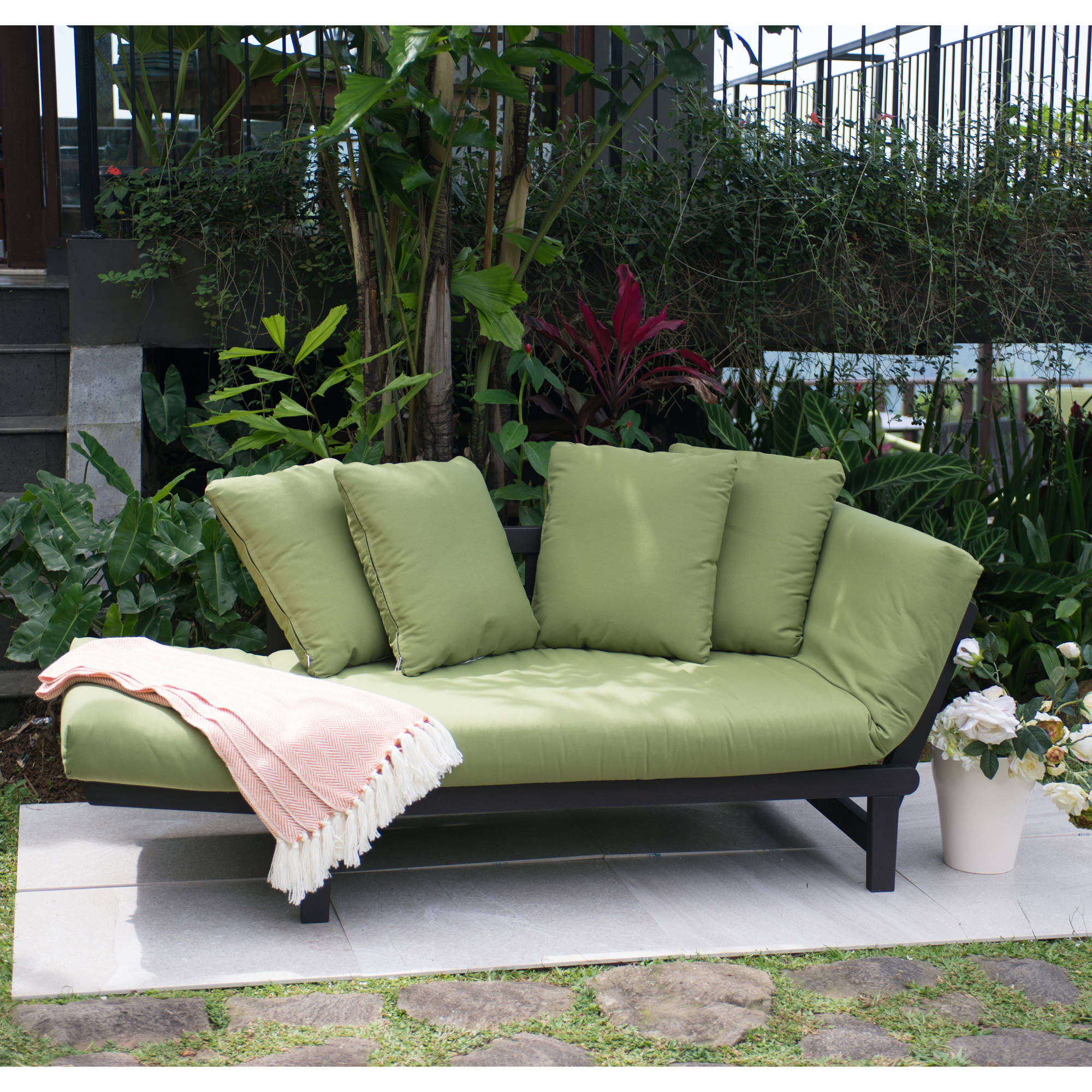 Best And Newest Patio Daybeds With Cushions In Better Homes & Gardens Delahey Outdoor Daybed With Cushions – Green (View 2 of 20)
