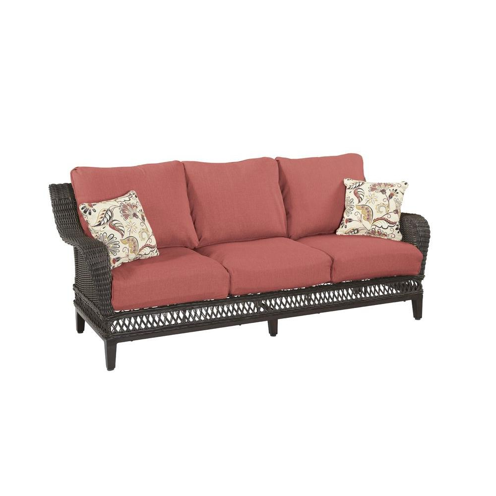 Best And Newest Patio Sofas With Cushions With Hampton Bay Woodbury Wicker Outdoor Patio Sofa With Chili Cushion (View 20 of 20)
