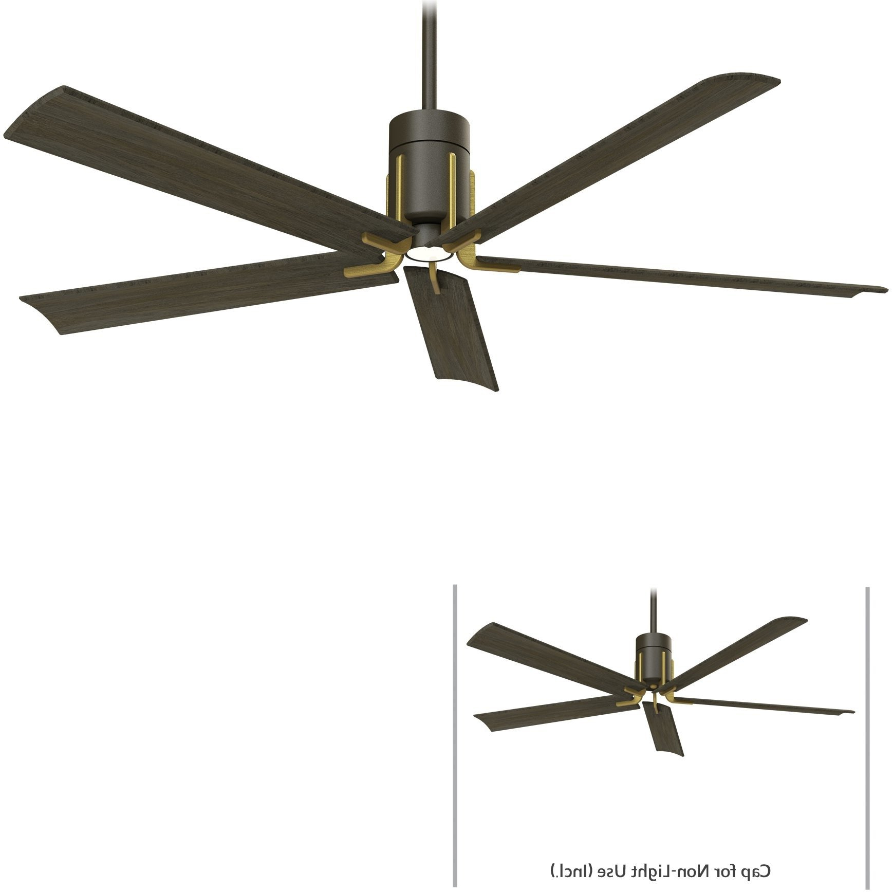Best And Newest Raptor 5 Blade Ceiling Fans With Minka Aire F684l Orb/tb Clean Oil Rubbed Bronze/toned Brass (View 16 of 20)