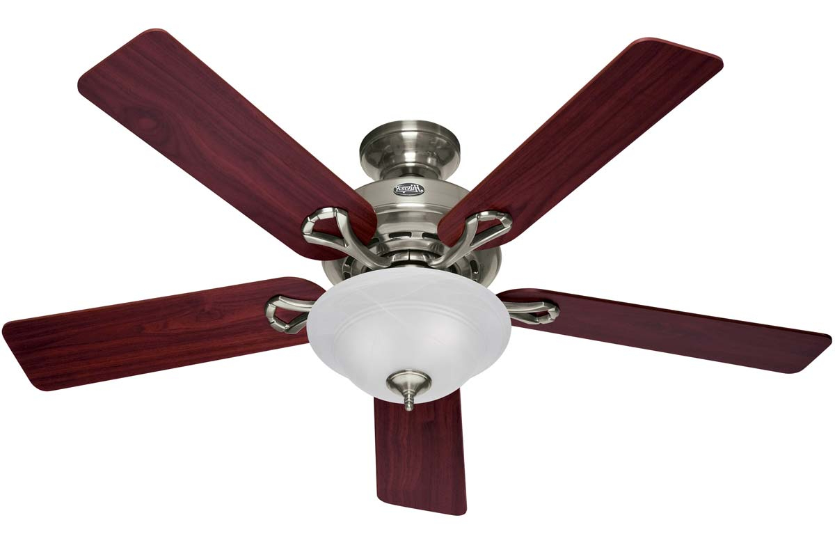 """Best And Newest The Kensington 5 Blade Ceiling Fans In Hunter Kensington 52"""" Ceiling Fan With Bowl Light – Brushed Nickel With Cherry/maple Blades And Swirled Marble Glass (53047) (View 5 of 20)"""