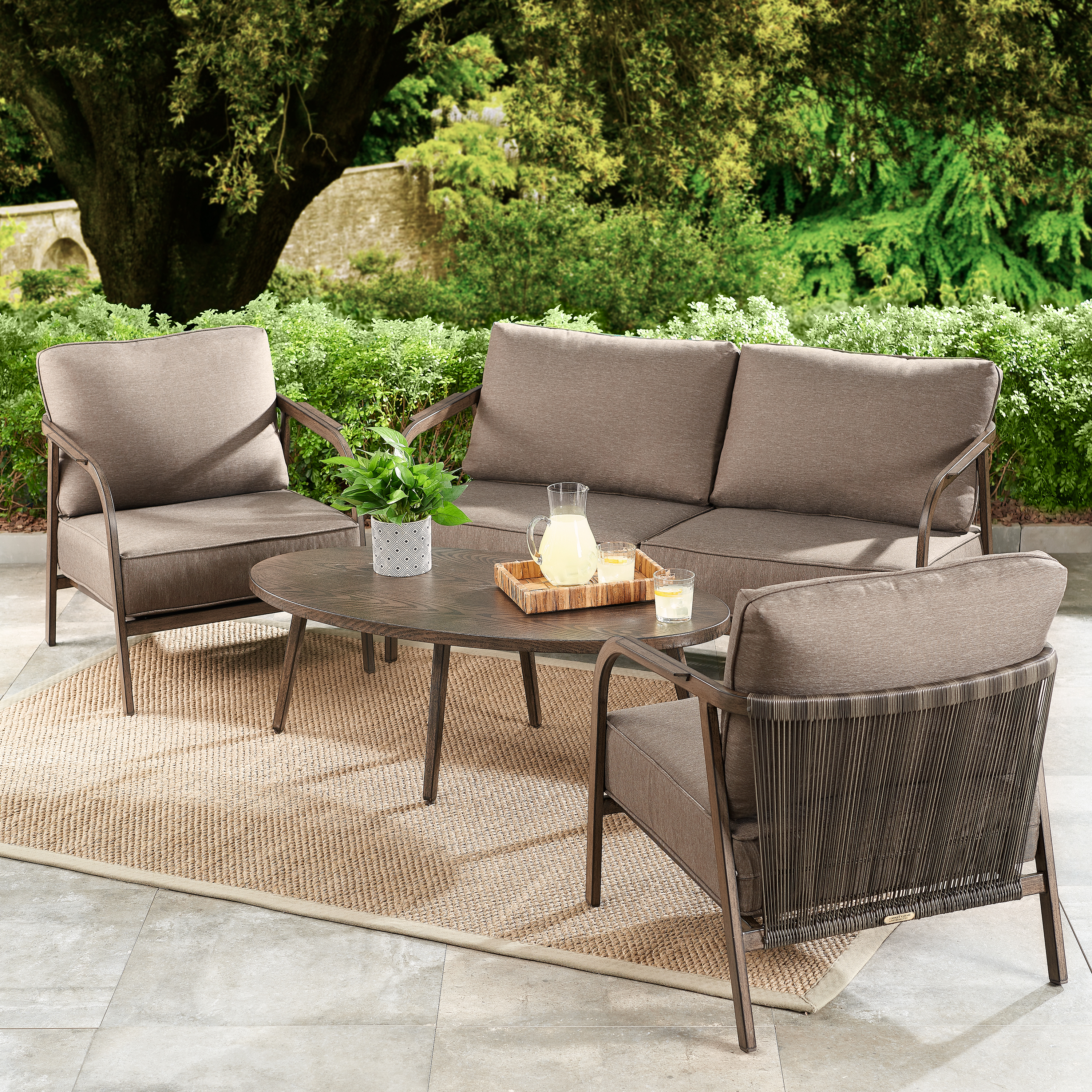 Better Homes & Gardens Arlo 4 Piece Patio Loveseat Set With With Current Calvin Patio Loveseats With Cushions (View 6 of 20)