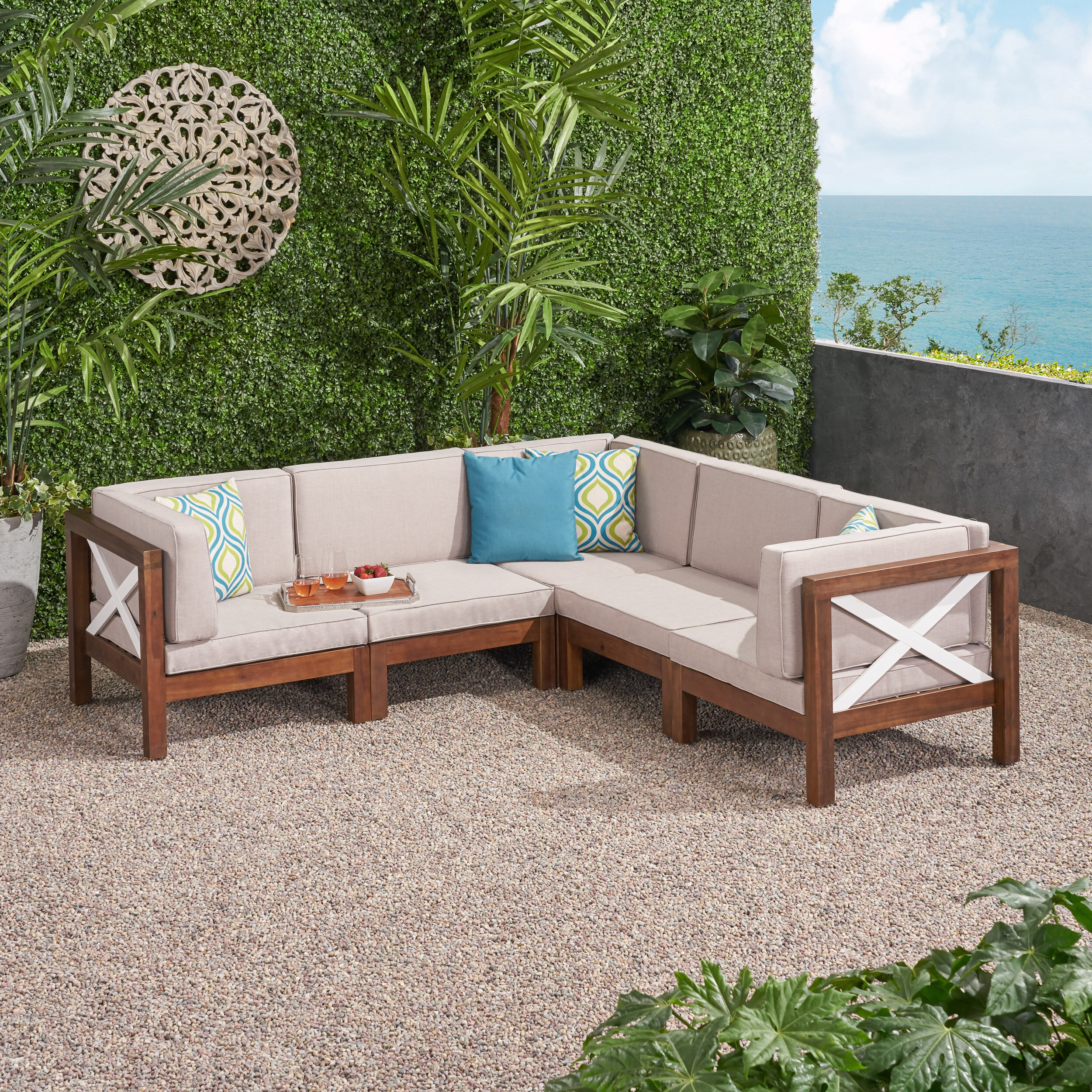 Breakwater Bay Patel Outdoor Patio Sectional With Cushions With Trendy Tess Corner Living Patio Sectionals With Cushions (View 4 of 20)