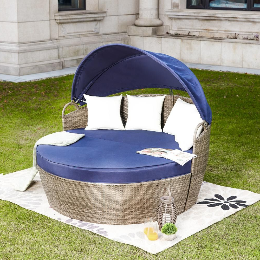 Brennon Cube Patio Daybeds With Cushions Regarding Popular Patio Festival 3 Piece Wicker Outdoor Day Bed With Blue (View 15 of 25)