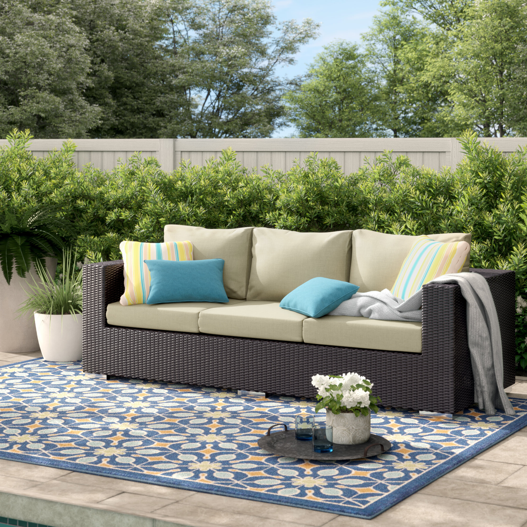 Brentwood Patio Sofa With Cushions Inside Most Recent Wrobel Patio Sectionals With Cushion (View 5 of 20)