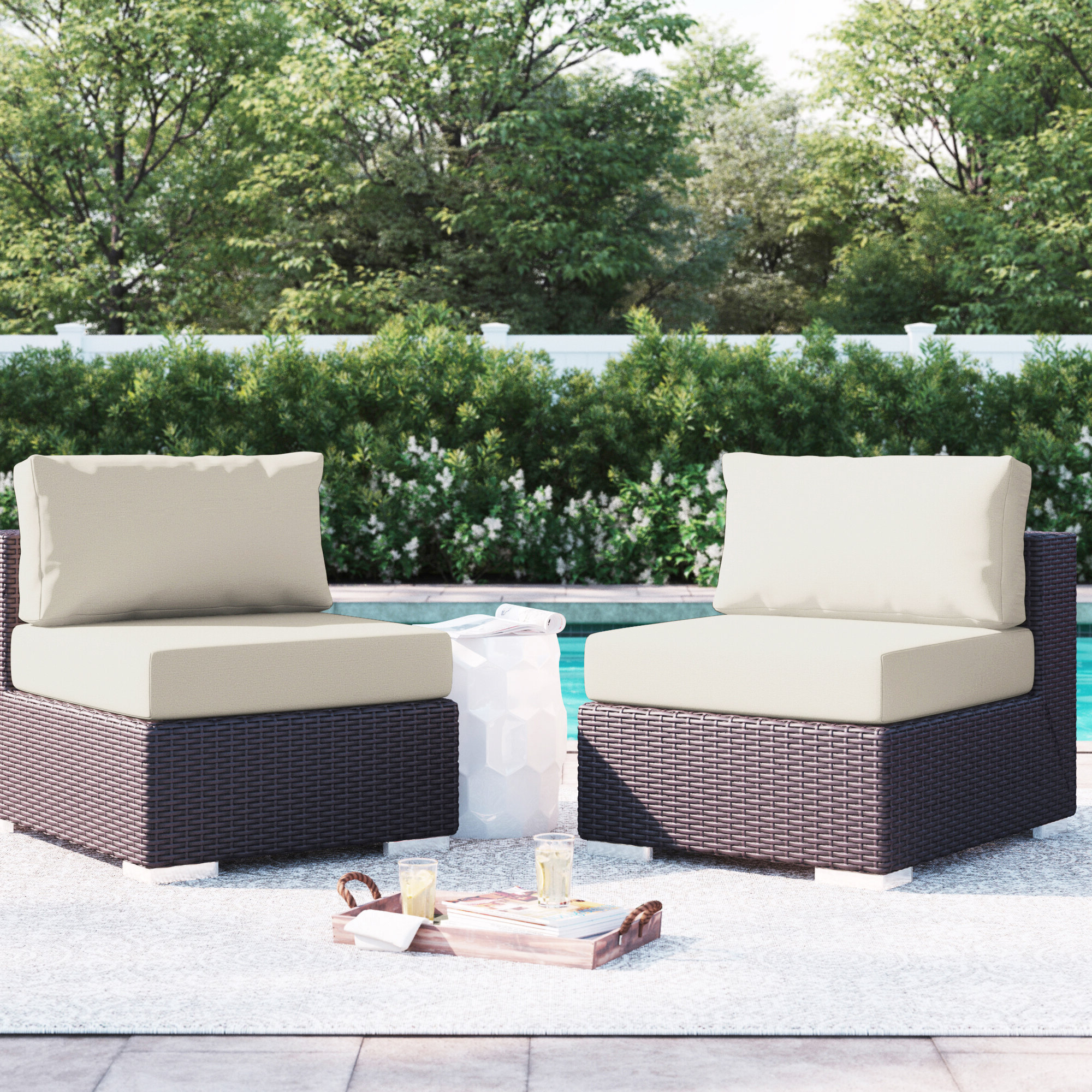 Brentwood Patio Sofas With Cushions With Current Brentwood Armless Chair With Cushions (View 6 of 18)