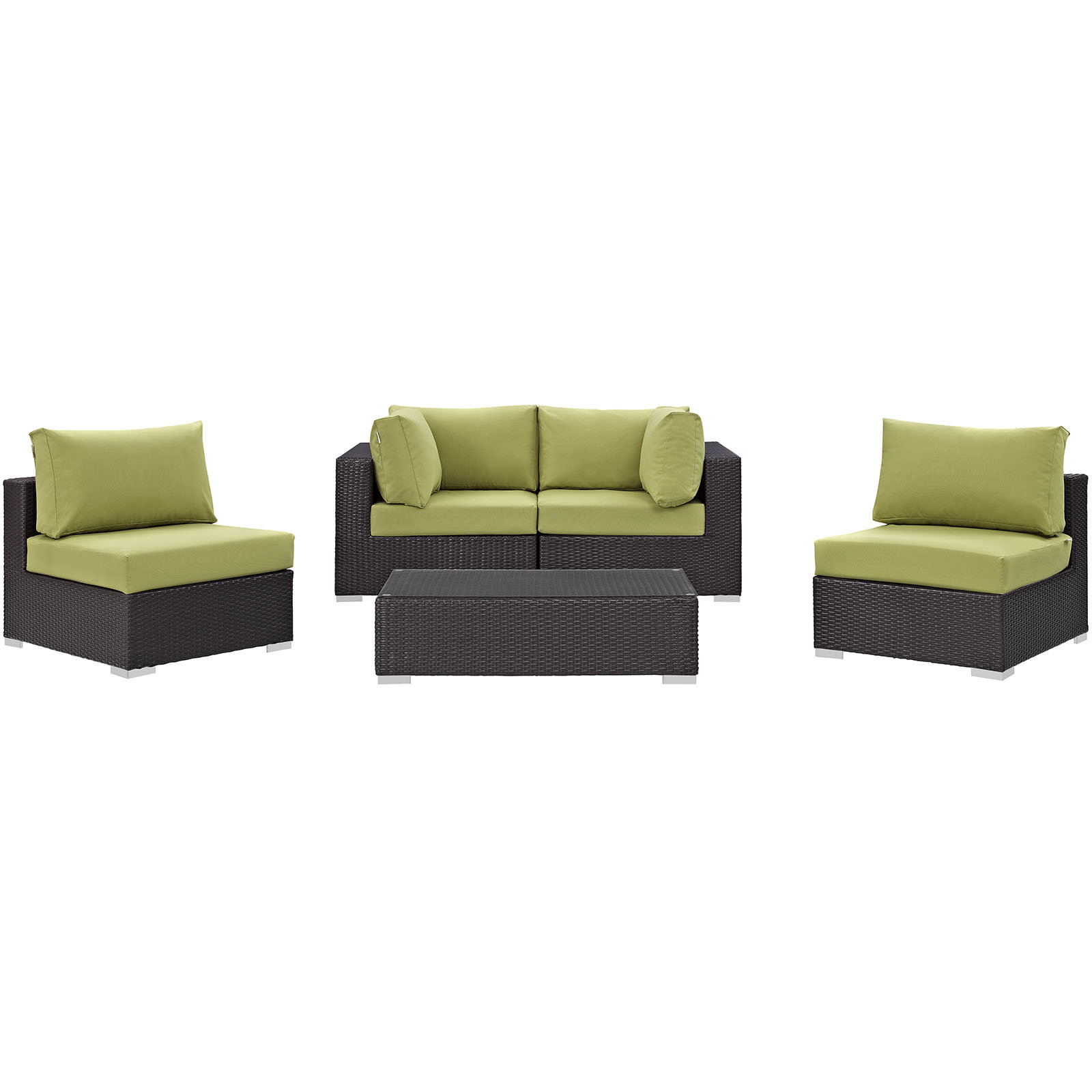 Brentwood Patio Sofas With Cushions With Regard To Well Known Brentwood 5 Piece Rattan Sectional Set With Cushions (View 7 of 18)