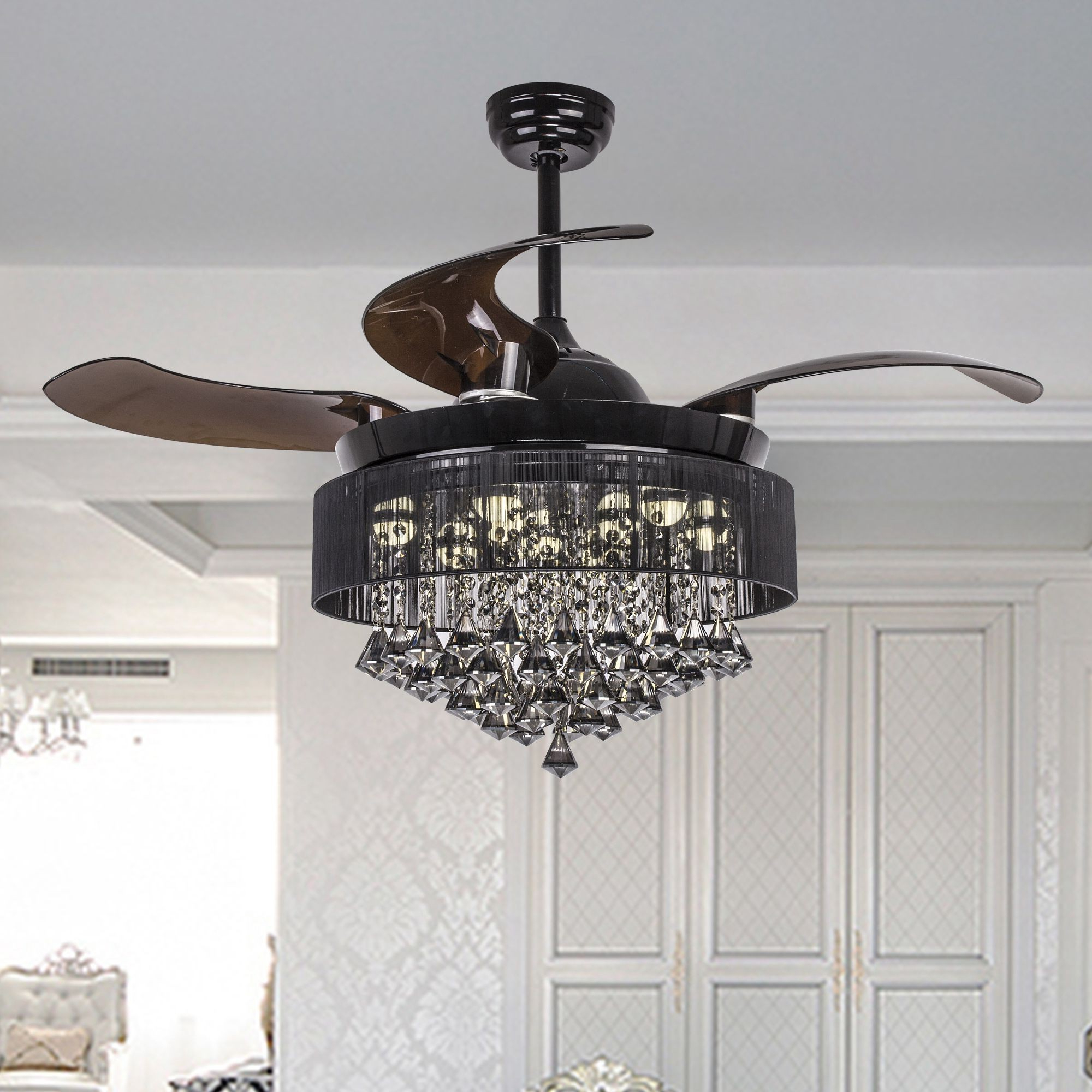 "Broxburne 4 Blade Led Ceiling Fans With Remote Inside Well Liked 46"" Broxburne Modern Crystal Retractable Ceiling Fan With Led Lights And Remote Control, Black (Gallery 2 of 20)"