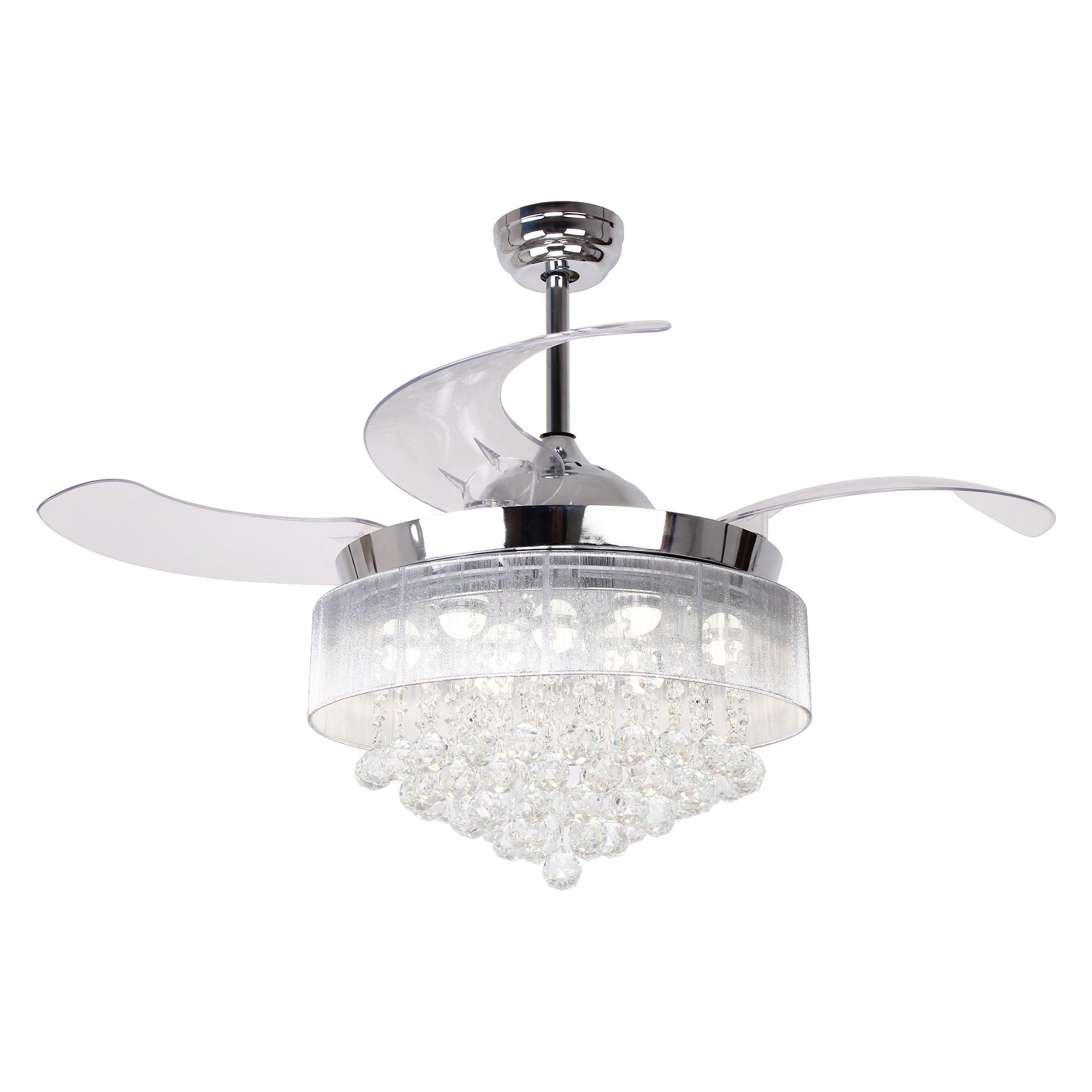 """Broxburne 4 Blade Led Ceiling Fans With Remote Pertaining To Most Current 46"""" Broxburne Cool Light 4 Blade Led Ceiling Fan With Remote, Chrome (View 7 of 20)"""