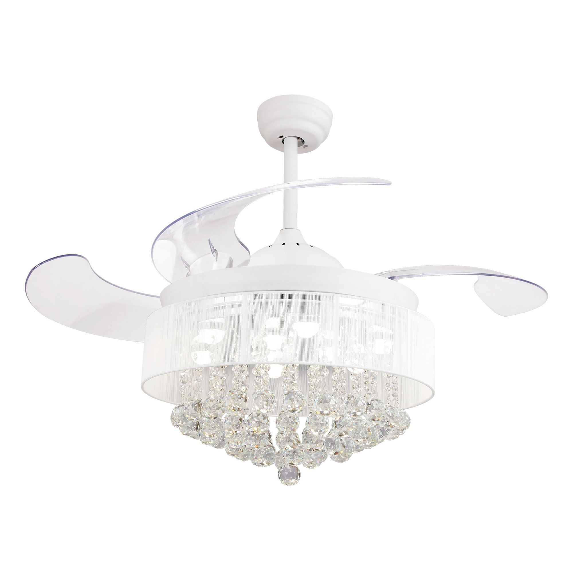 """Broxburne 4 Blade Led Ceiling Fans With Remote Within Famous 46"""" Broxburne Modern Crystal Retractable Ceiling Fan With Led Lights And  Remote Control, White (View 8 of 20)"""