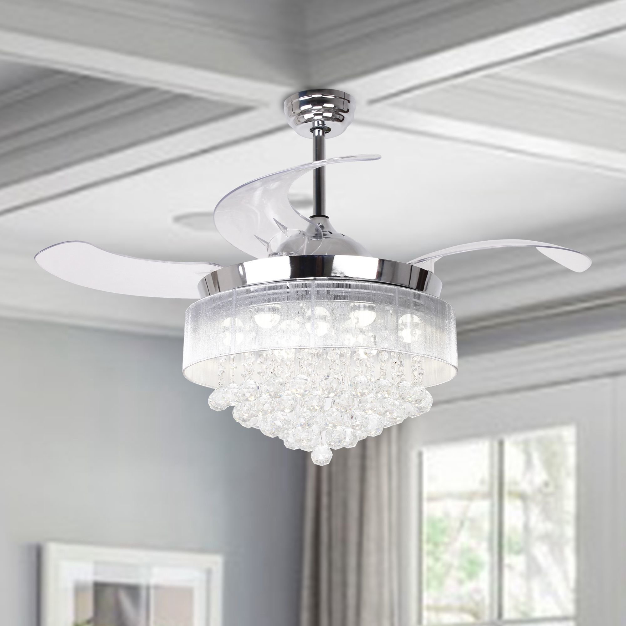 Featured Photo of Broxburne 4 Blade Led Ceiling Fans With Remote
