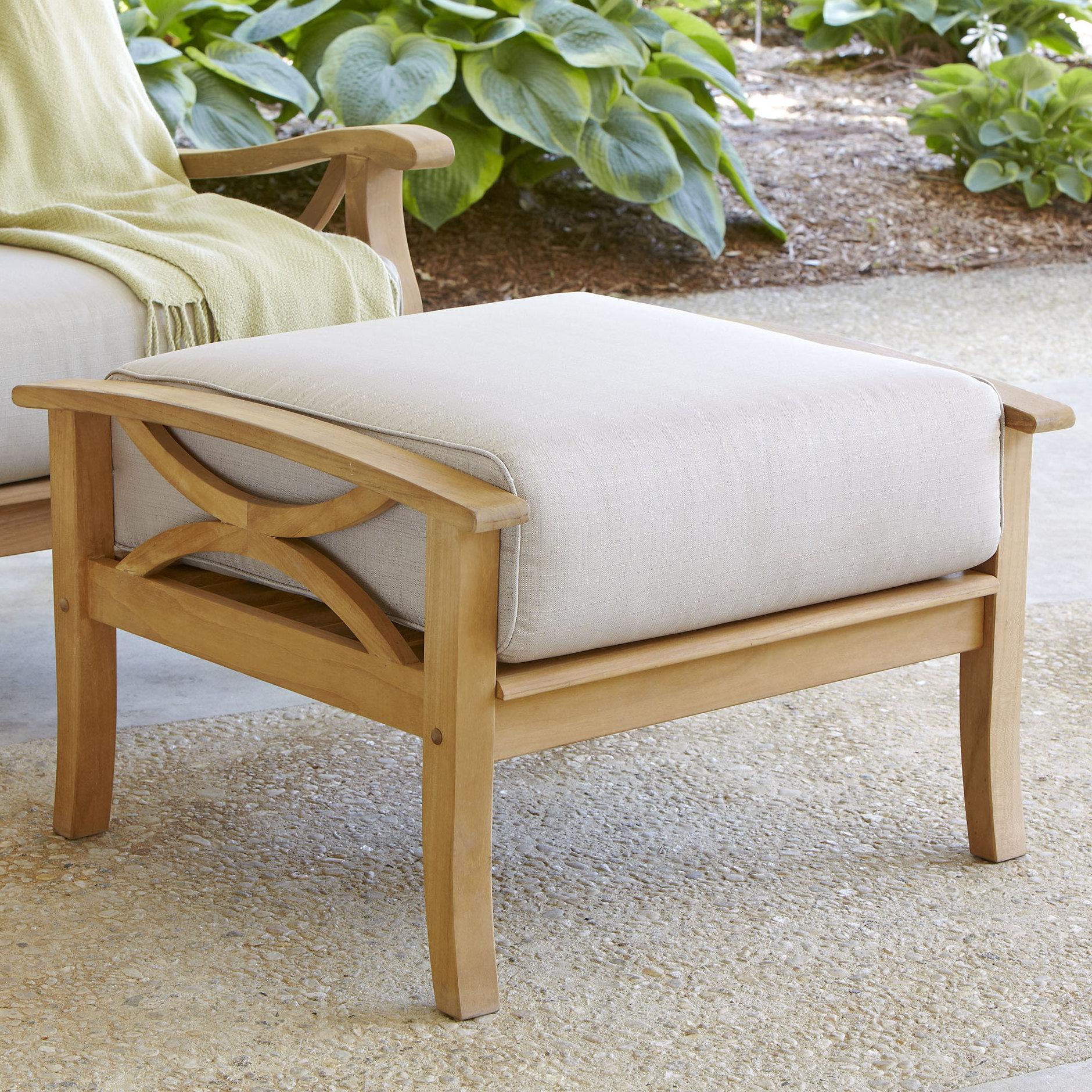 Brunswick Teak Loveseats With Cushions Intended For 2019 Brunswick Teak Ottoman With Cushion (View 4 of 20)