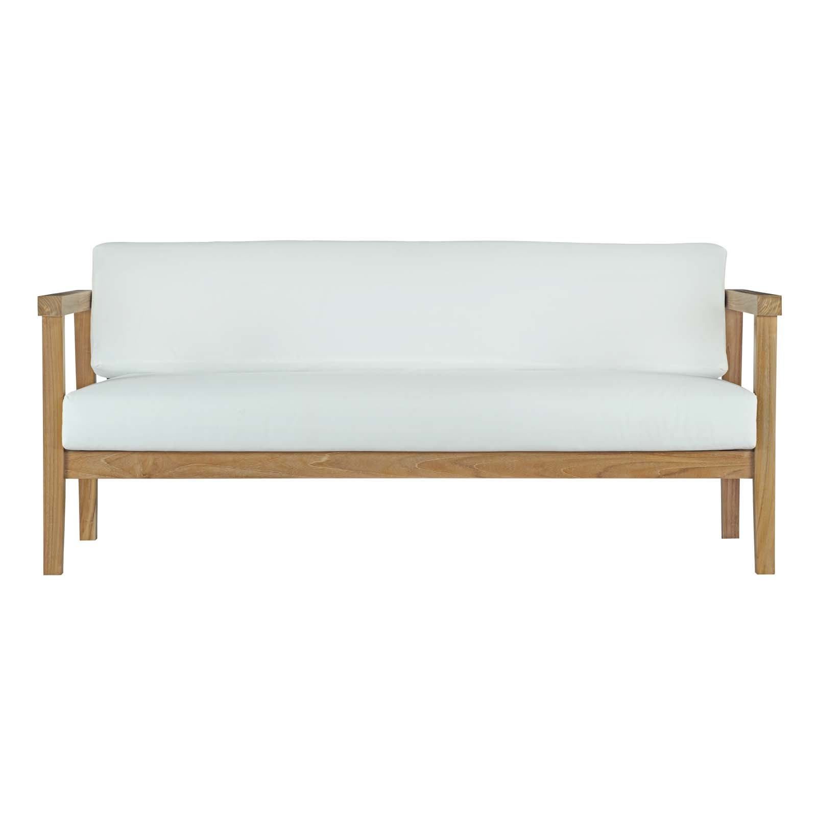 Brunswick Teak Loveseats With Cushions Intended For Well Liked Modern Loveseat Teak Patio Sofas (View 7 of 20)