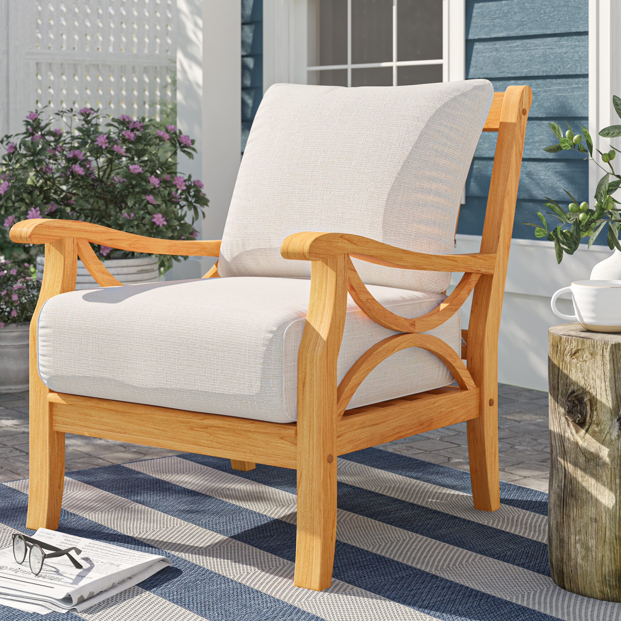 Brunswick Teak Patio Chair With Cushions With Regard To Trendy Baltic Patio Sofas With Cushions (View 12 of 25)