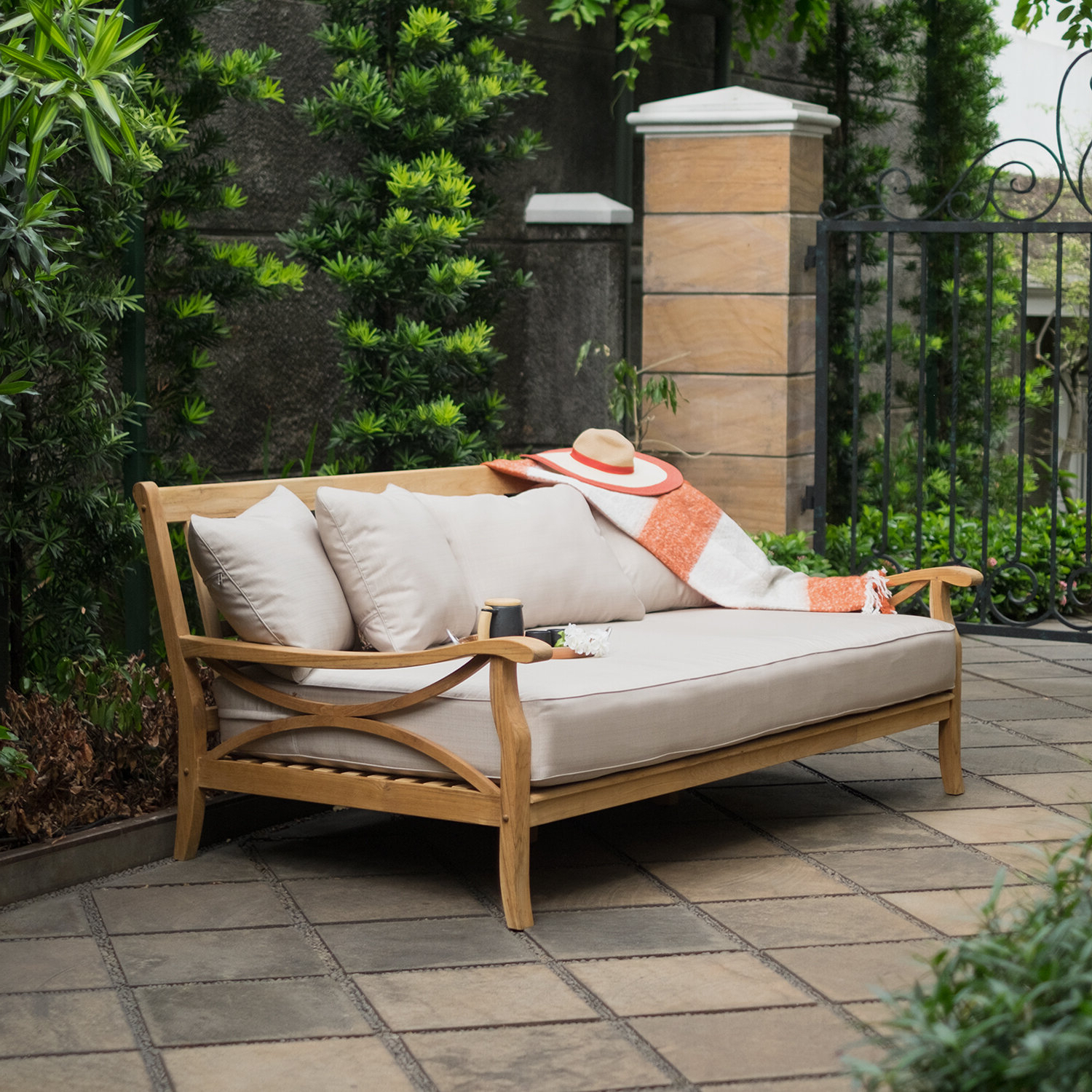 Brunswick Teak Patio Daybed With Cushions For Recent Clary Teak Lounge Patio Daybeds With Cushion (View 2 of 20)
