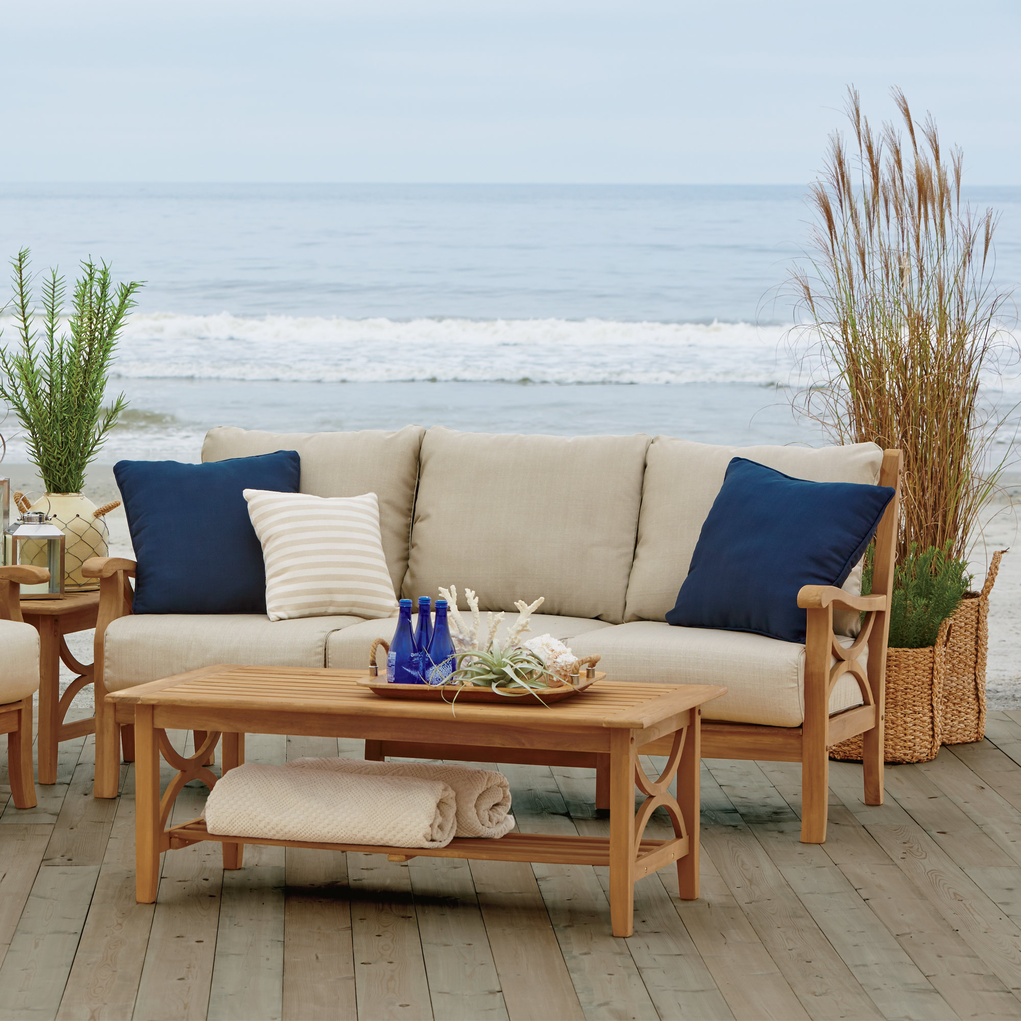 Brunswick Teak Patio Sofa With Cushions In Popular Montford Teak Loveseats With Cushions (View 1 of 20)