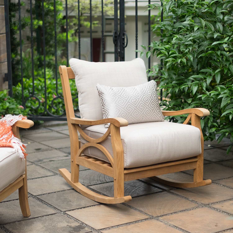 Brunswick Teak Rocking Chair With Cushion Intended For 2019 Brunswick Teak Loveseats With Cushions (View 9 of 20)