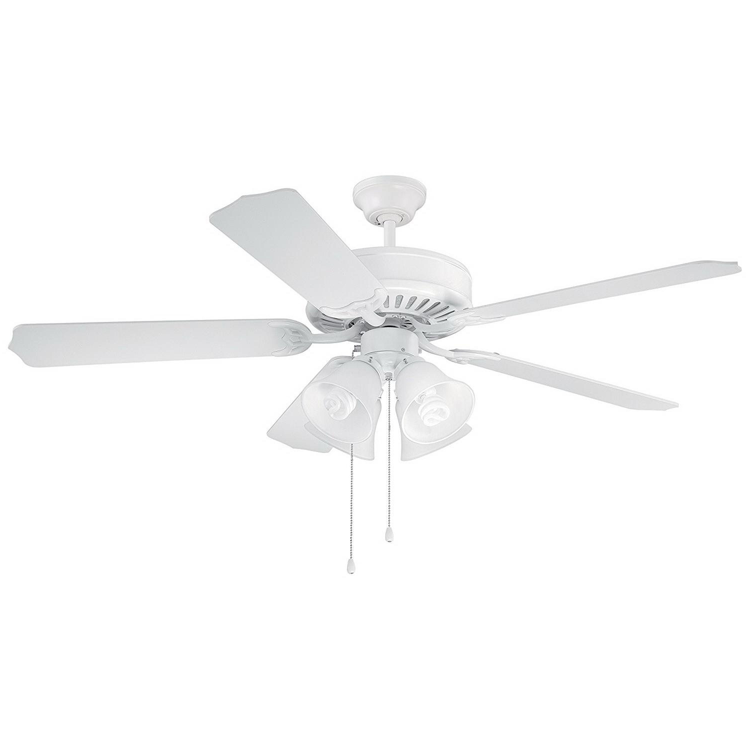 Builder 5 Blade Ceiling Fans Throughout Famous Craftmade C203W Pro Builder 203 Ceiling Fan With Light 52 Inch 5 Blade  3 Speed White (View 5 of 20)