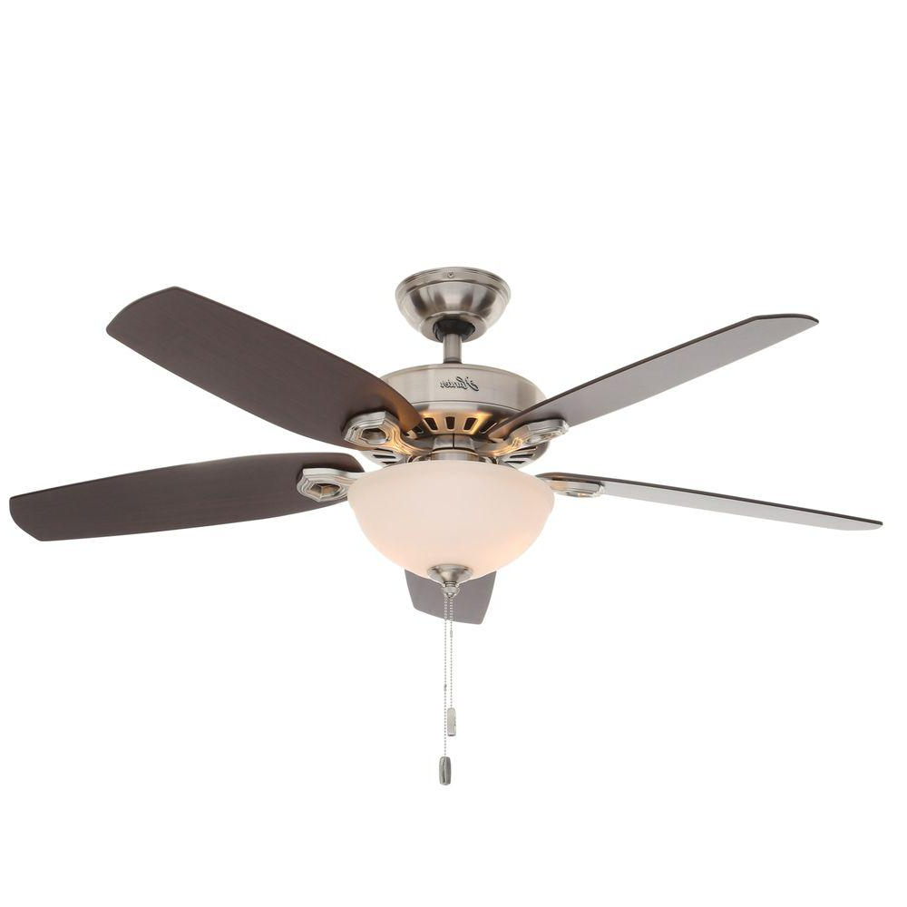 Builder 5 Blade Ceiling Fans Throughout Most Recent Hunter Builder Deluxe 52 In. Indoor Brushed Nickel Ceiling Fan With Light Kit (Gallery 8 of 20)