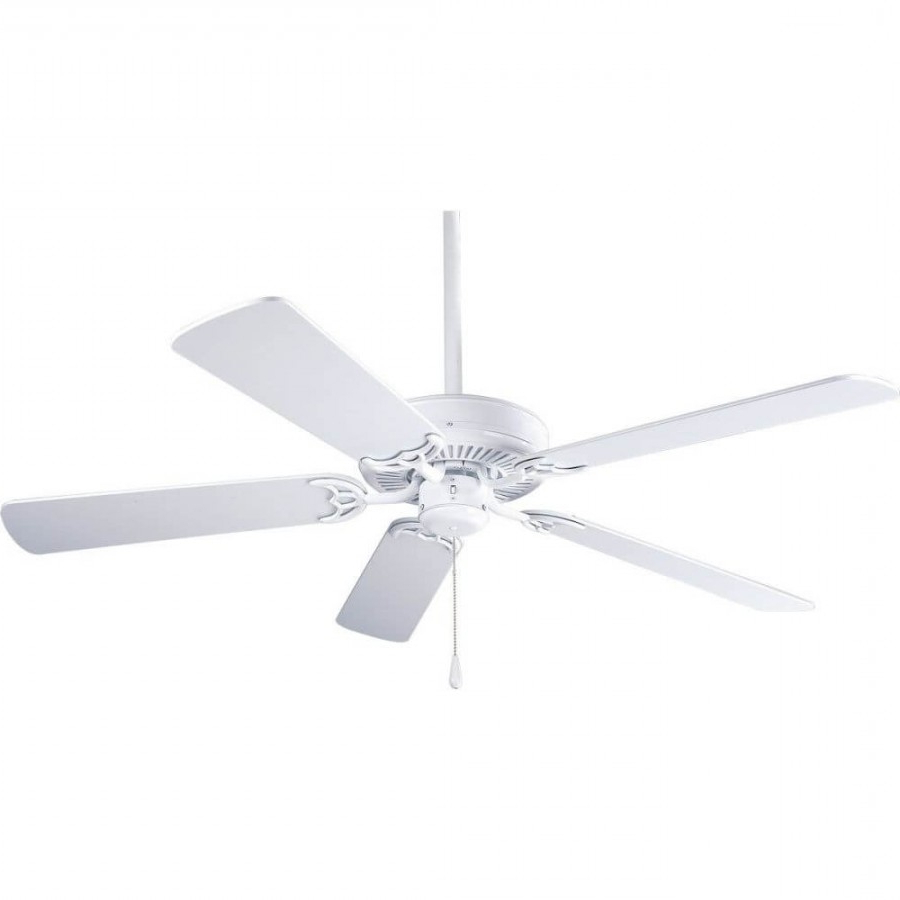 Builder 5 Blade Ceiling Fans Throughout Well Known Progress Lighting P2501 30W Airpro 52 Inch 5 Blade Builder Ceiling Fan In  White (View 7 of 20)