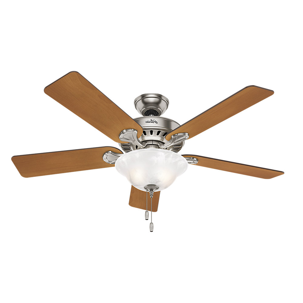 "Builder Elite 5 Blade Ceiling Fans For Most Recent 52"" Buchanan 5 Blade Ceiling Fan With Light (View 13 of 20)"