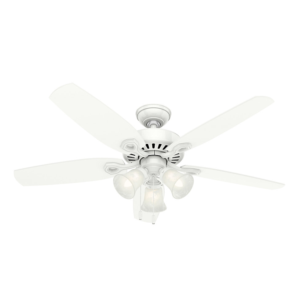 "Builder Elite 5 Blade Ceiling Fans Intended For Most Popular 52"" Builder Elite 5 Blade Ceiling Fan Light Kit Included (View 4 of 20)"