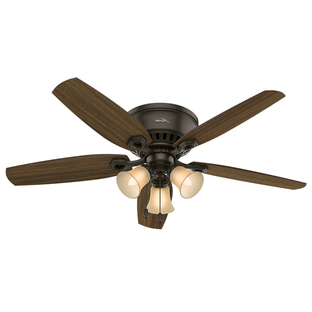 "Builder Low Profile 5 Blade Ceiling Fans Intended For Recent 52"" Builder Low Profile 5 Blade Ceiling Fan, Light Kit Included (Gallery 3 of 20)"