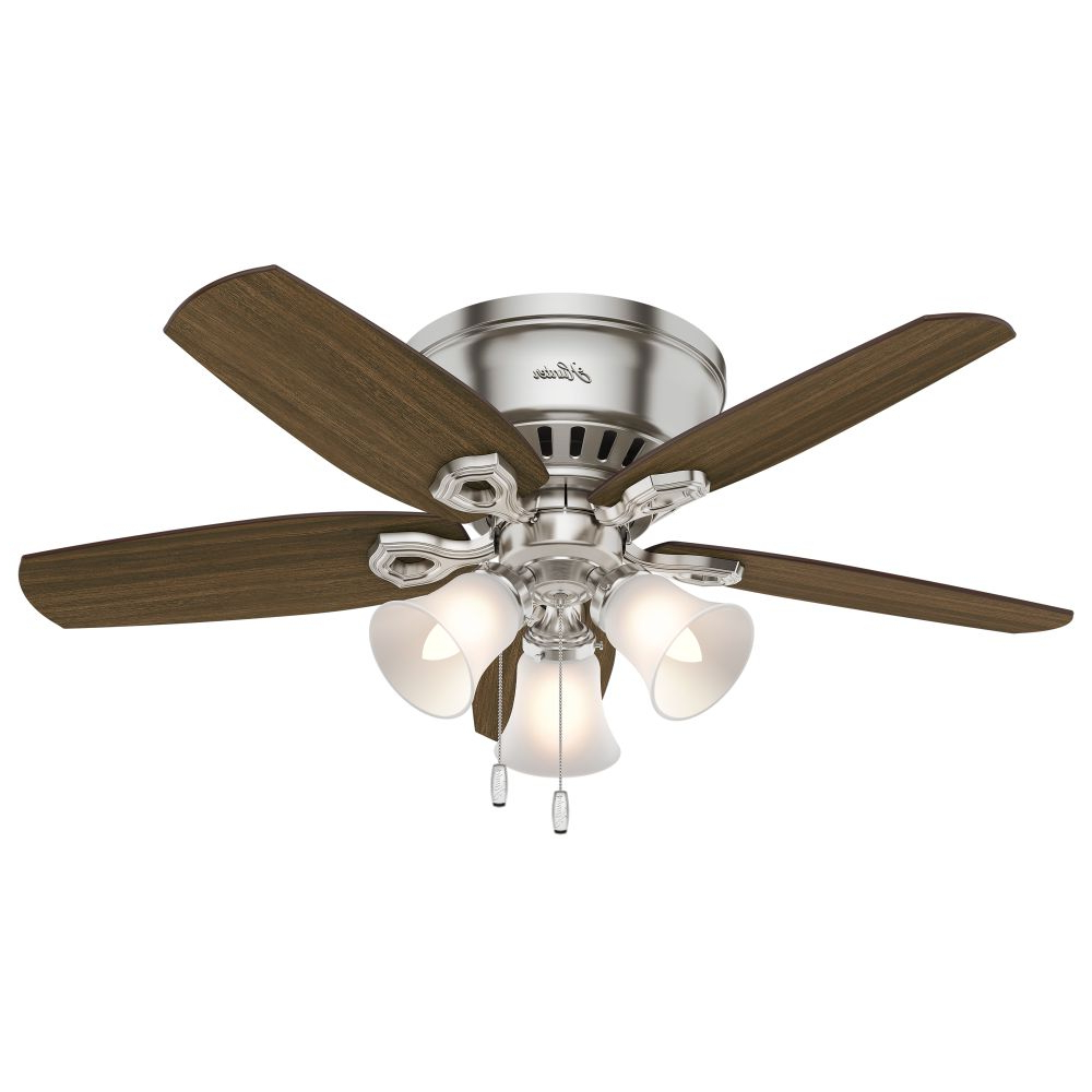 Builder Low Profile 5 Blade Ceiling Fans With Regard To Well Liked Builder Low Profile 42 Inch 3 Light Ceiling Fan In Brushed Nickel With 5  Brazilian Cherry Blade And Cased White Glass (View 4 of 20)