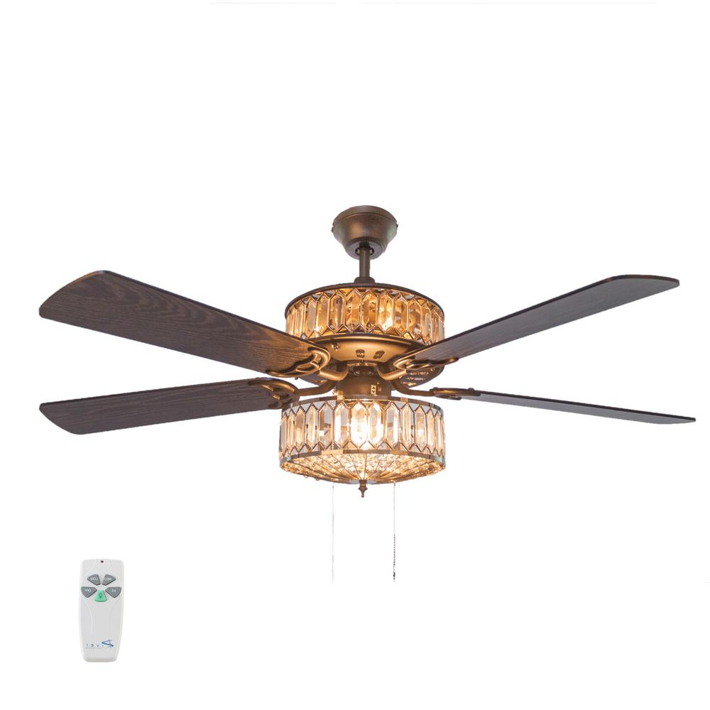 "Caged Crystal 5 Blade Ceiling Fans Intended For Latest River Of Goods 52"" Silver Ceiling Fan With Geometric Diamond Shaped Double (View 8 of 20)"
