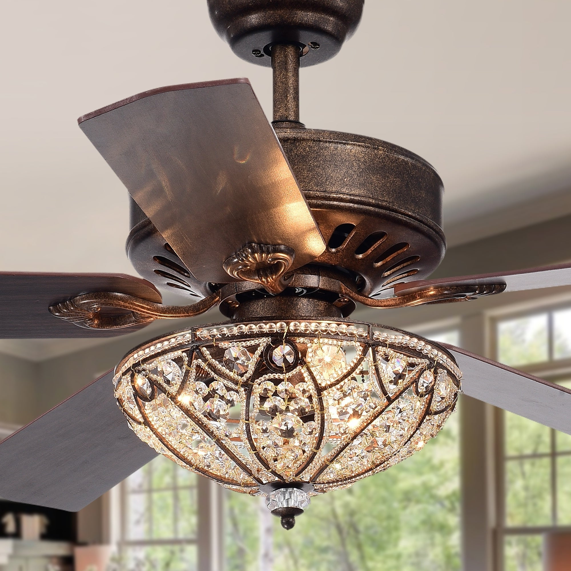 Caged Crystal 5 Blade Ceiling Fans With Regard To Fashionable Gliska 52 Inch 5 Blade Rustic Bronze Lighted Ceiling Fans W Crystal Shade  Optional Remote Control (Incl 2 Color Option Blades) (View 9 of 20)