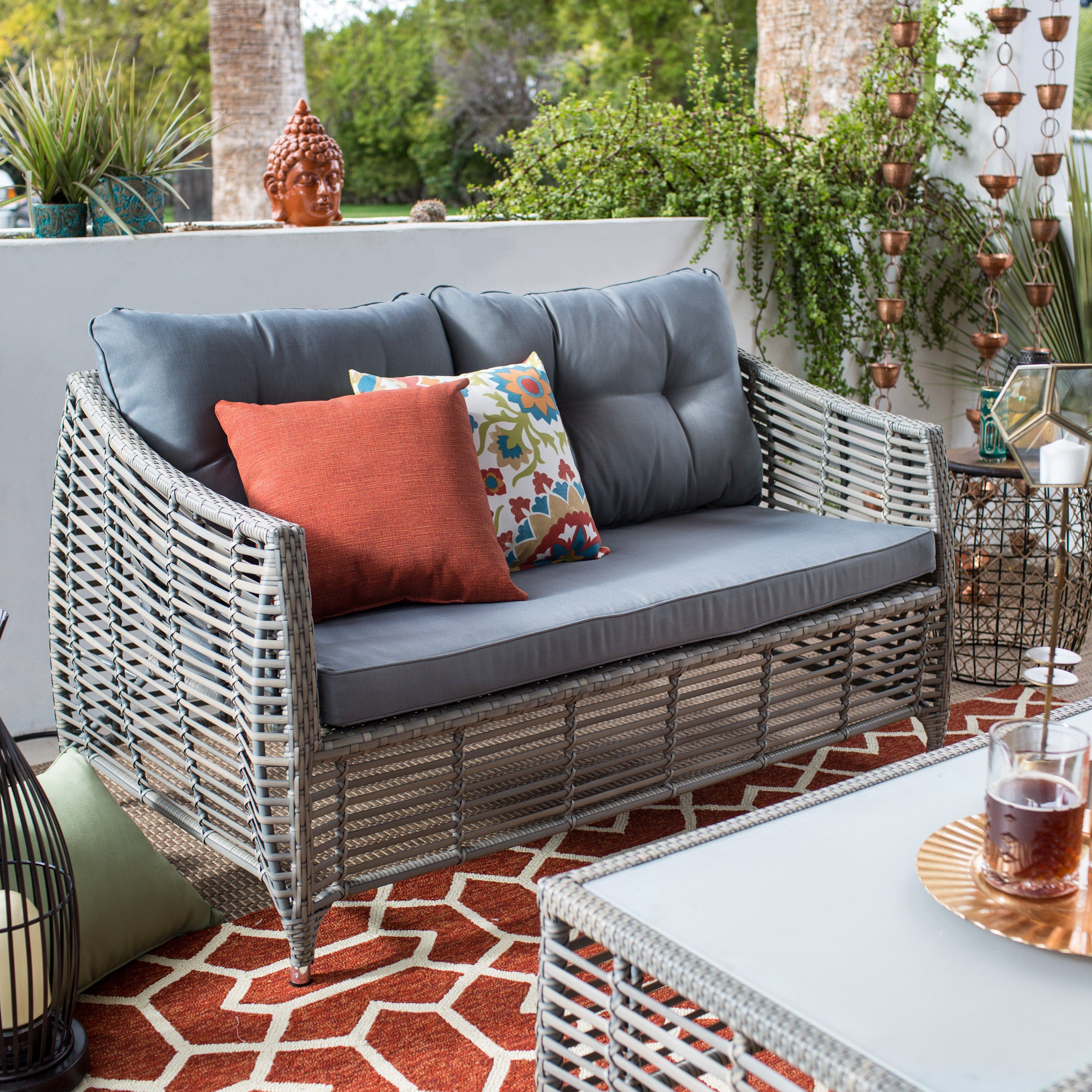 Calvin Patio Loveseats With Cushions In Most Up To Date Belham Living Kambree All Weather Wicker Loveseat With (View 7 of 20)
