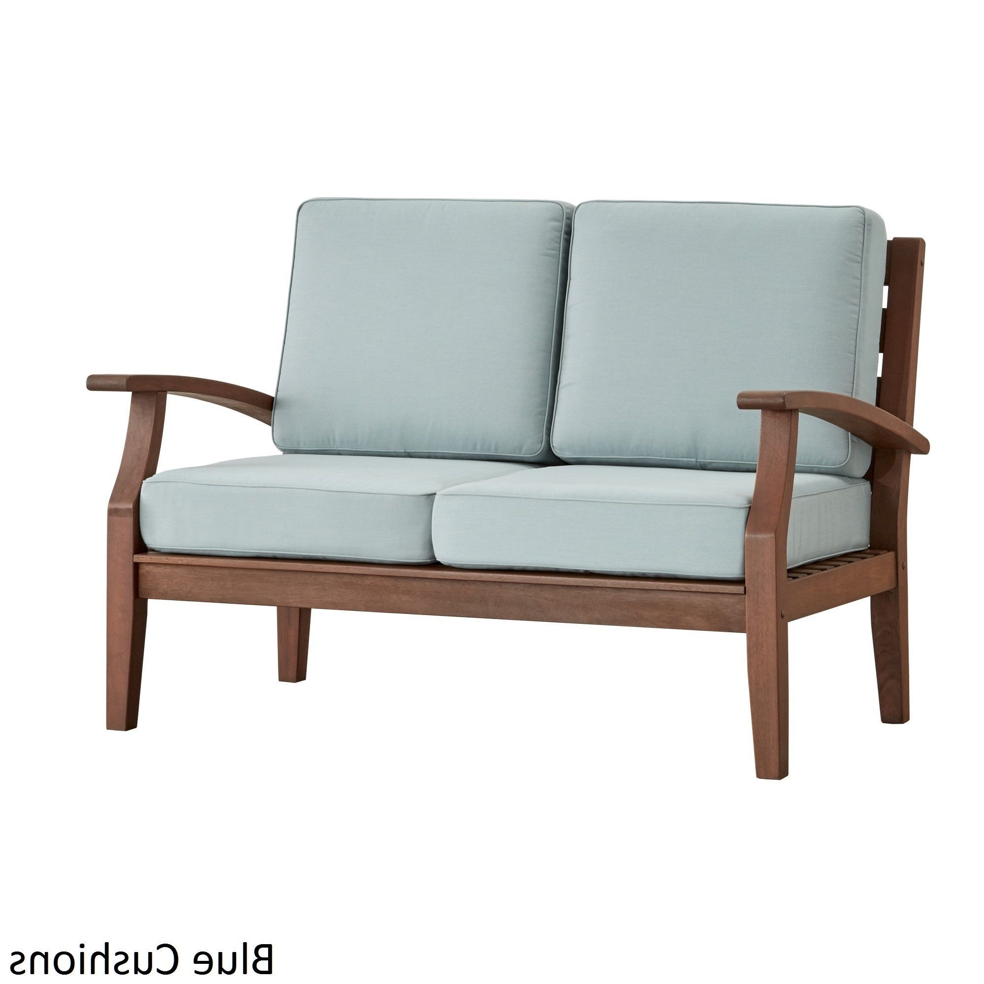 Calvin Patio Loveseats With Cushions Regarding Most Up To Date Yasawa Brown Modern Outdoor Cushioned Wood Loveseat Inspire (View 11 of 20)