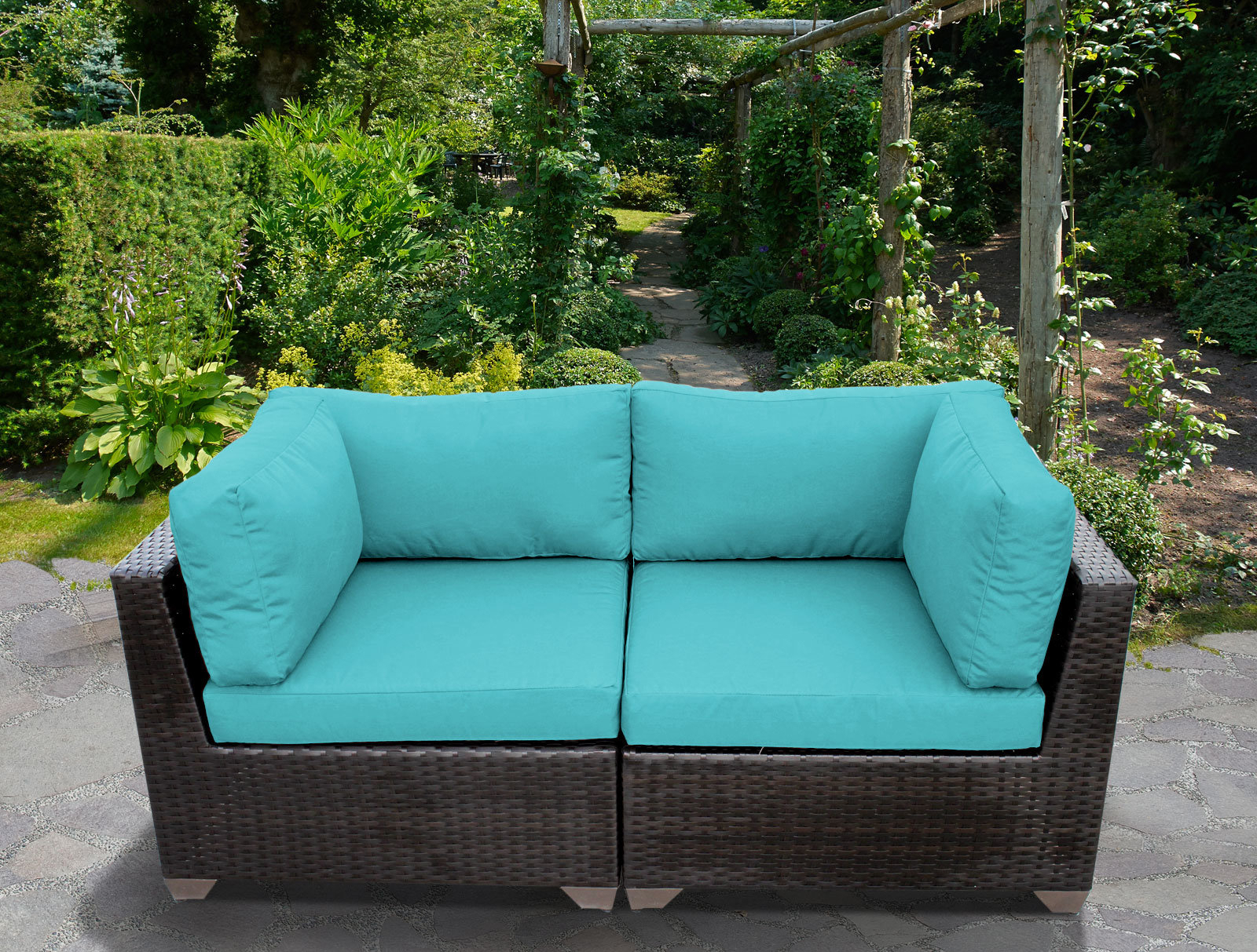 Camak Patio Loveseat With Cushions In Current Falmouth Loveseats With Cushions (View 2 of 20)