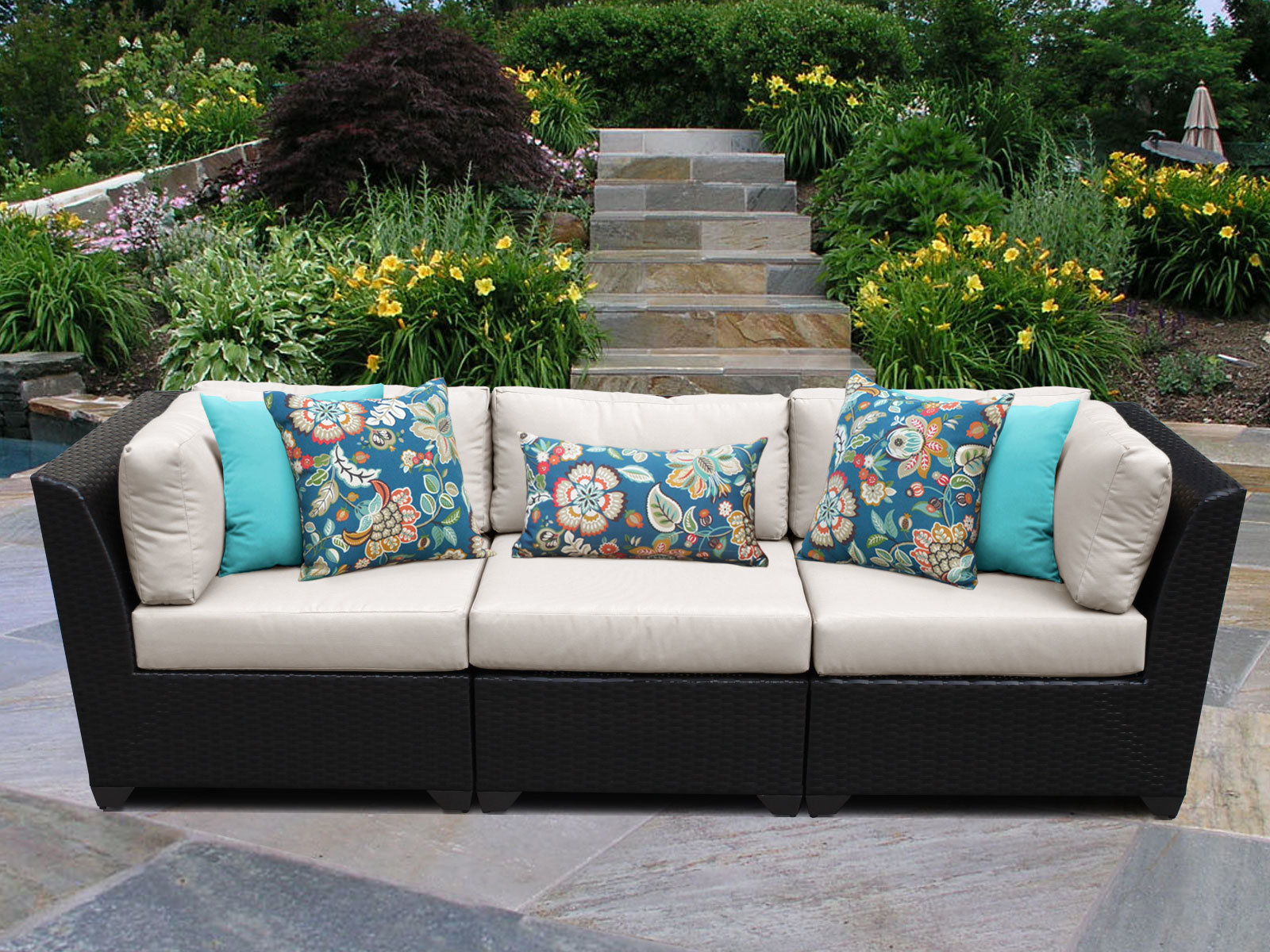 Camak Patio Sofa With Cushions For Most Current Vallauris Sofa With Cushions (View 2 of 20)