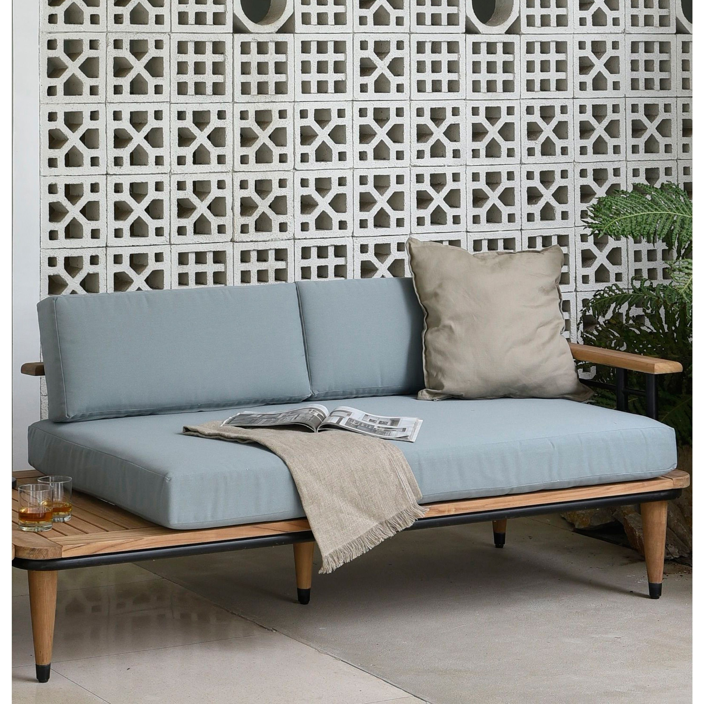 Cambridge Casual Kokomo Teak Metal Loveseat With Blue Regarding Best And Newest Clary Teak Lounge Patio Daybeds With Cushion (View 13 of 20)