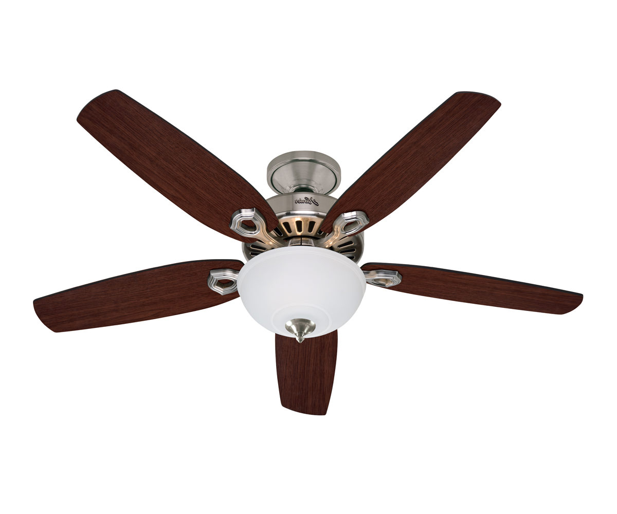 Caribbean Breeze 5 Blade Ceiling Fans Throughout Famous Builder Deluxe Brushed Nickel  (View 6 of 20)