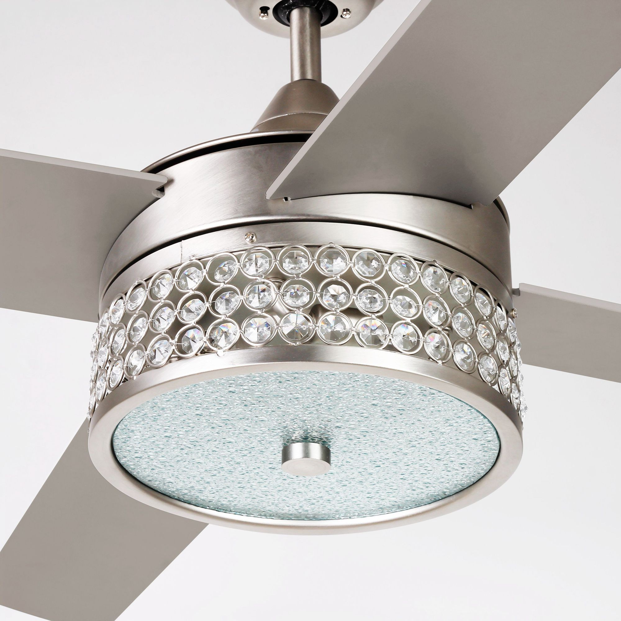 """Cason 4 Blade Ceiling Fans Pertaining To Favorite 52"""" Cason Modern Crystal Chandelier Ceiling Fan With Led Light And Remote  Control, 4 Blades, Satin Nickel (View 6 of 20)"""